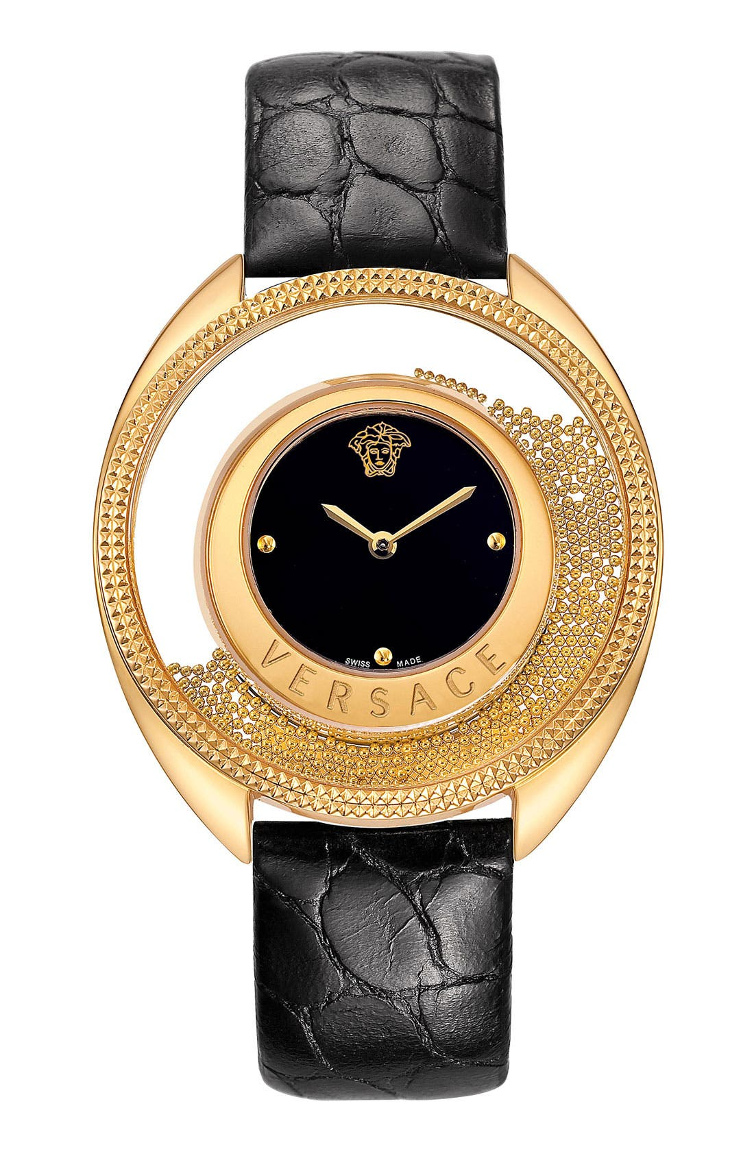 Main Image - Versace 'Destiny Spirit' Croc Embossed Strap Watch, 39mm
