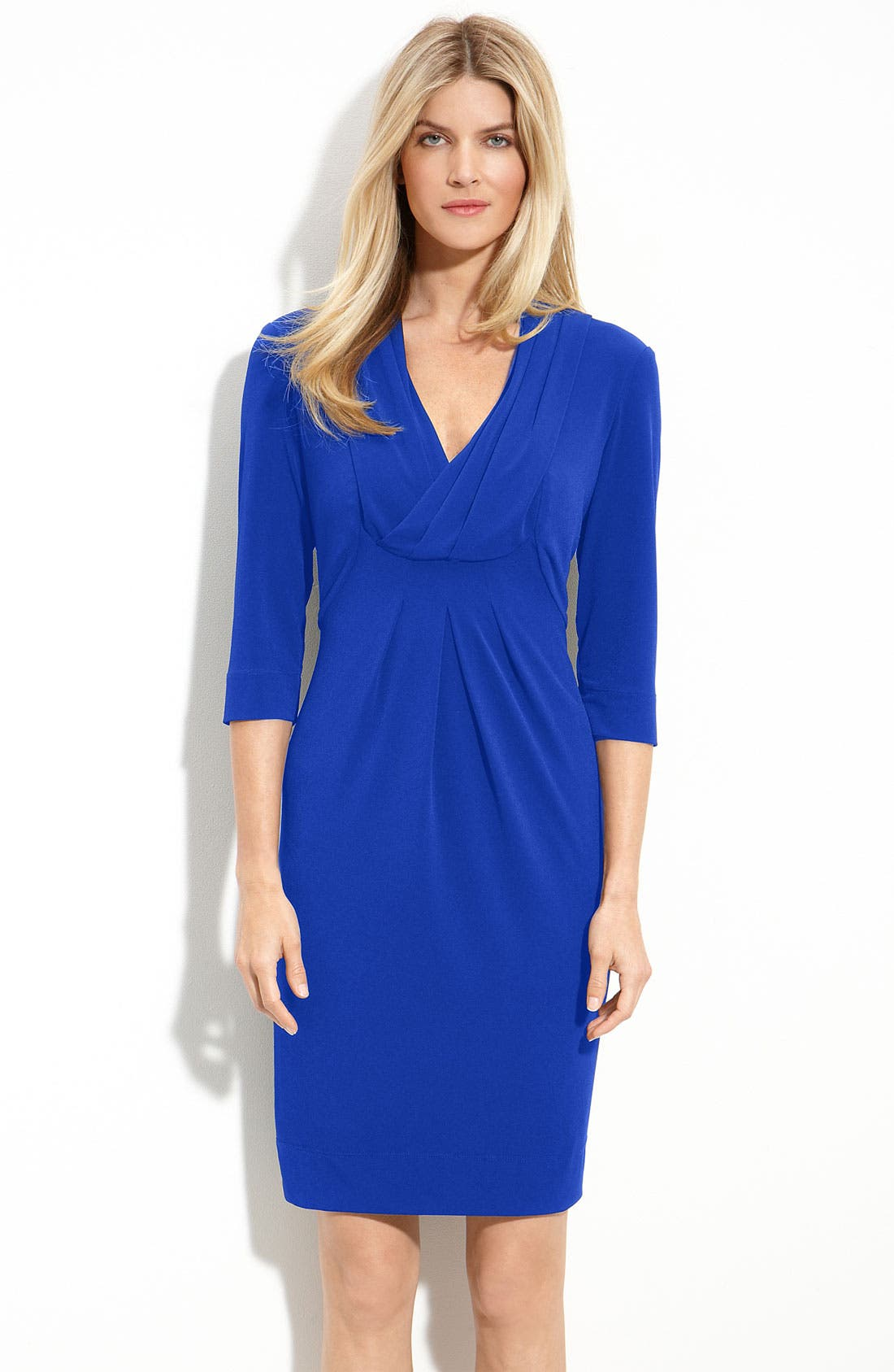 Main Image - Donna Ricco Drape V-Neck Jersey Dress (Regular & Petite)