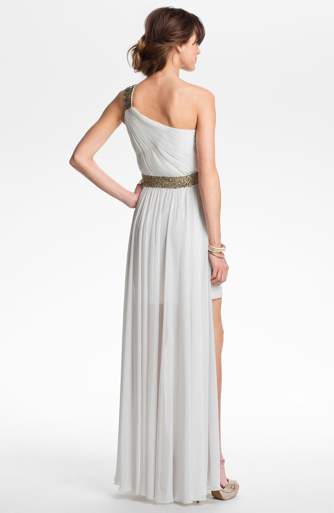 Alternate Image 2  - JS Boutique One Shoulder Embellished Chiffon Gown
