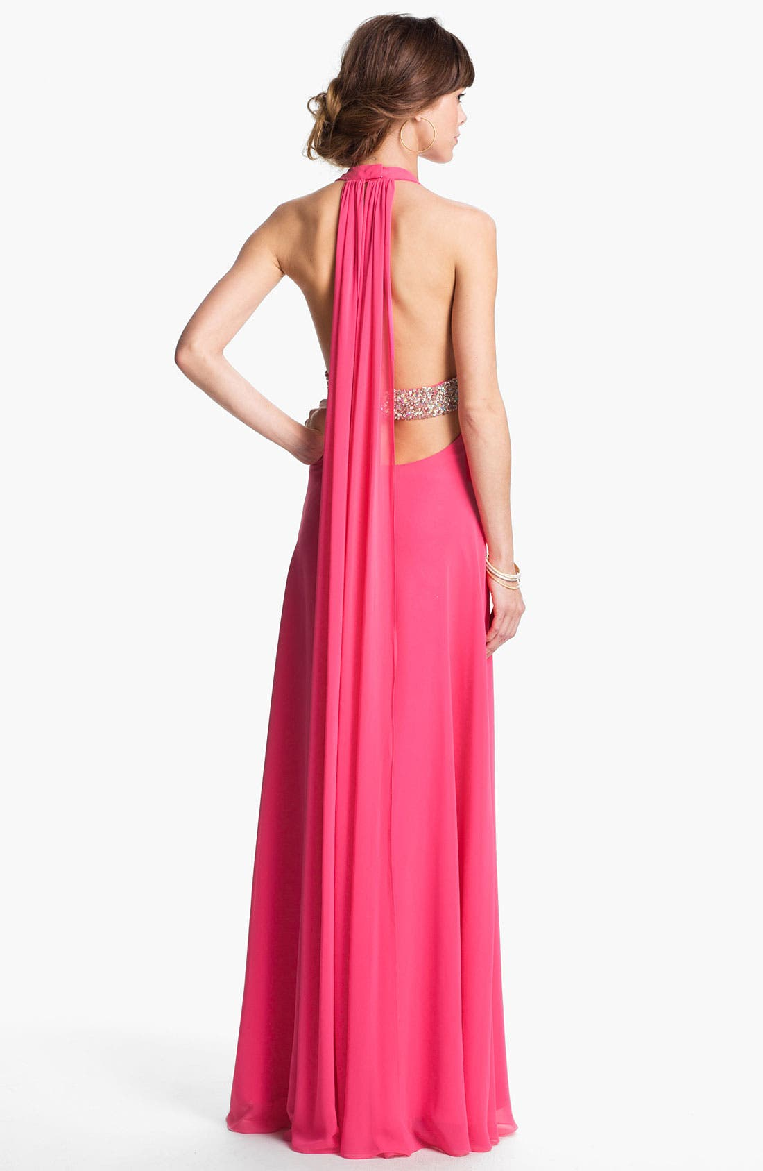 Alternate Image 2  - Faviana Embellished Chiffon Halter Gown (Online Exclusive)