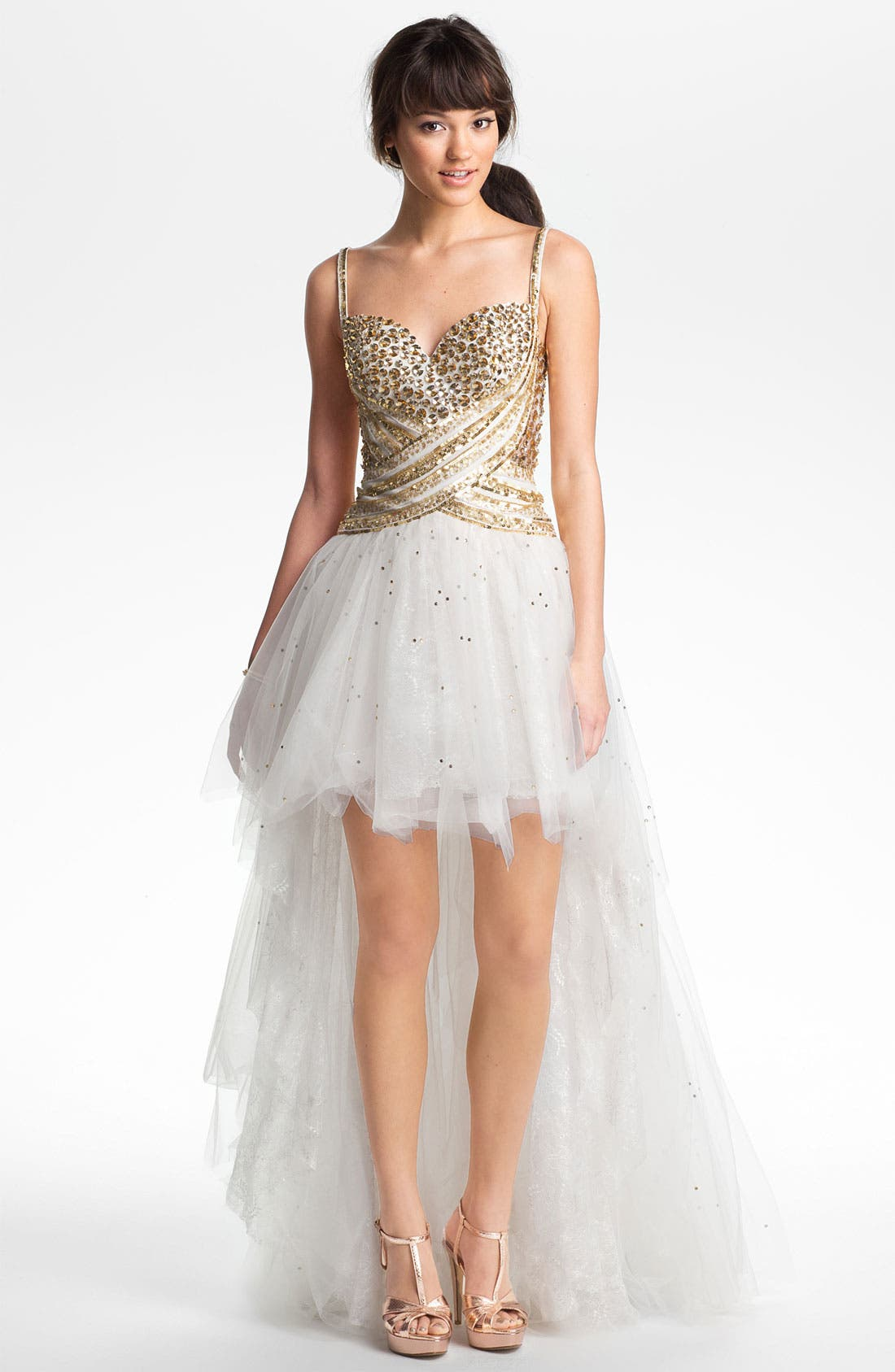 Alternate Image 1 Selected - Sherri Hill Embellished High/Low Tulle Gown