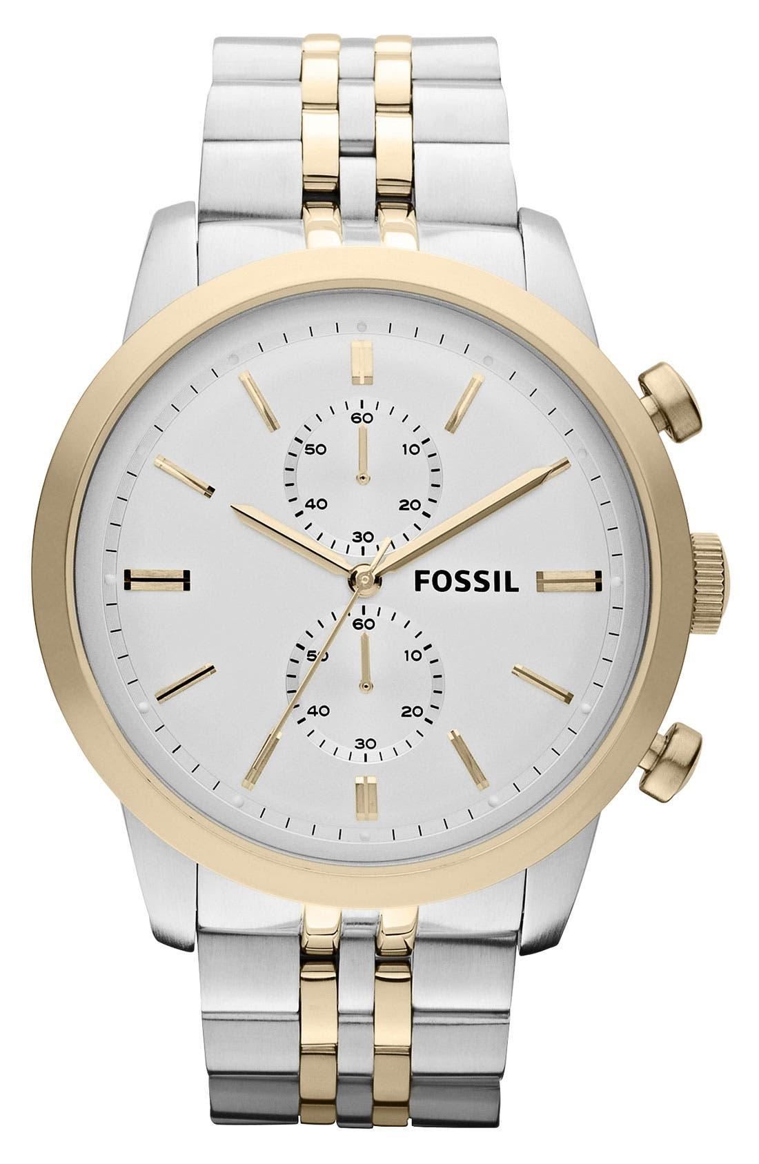 Alternate Image 1 Selected - Fossil 'Townsman' Chronograph Bracelet Watch, 48mm