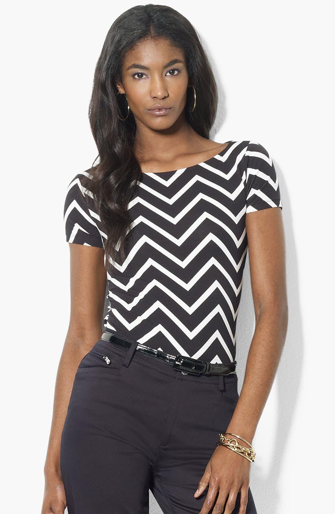 Alternate Image 1 Selected - Lauren Ralph Lauren Zigzag Stripe Top