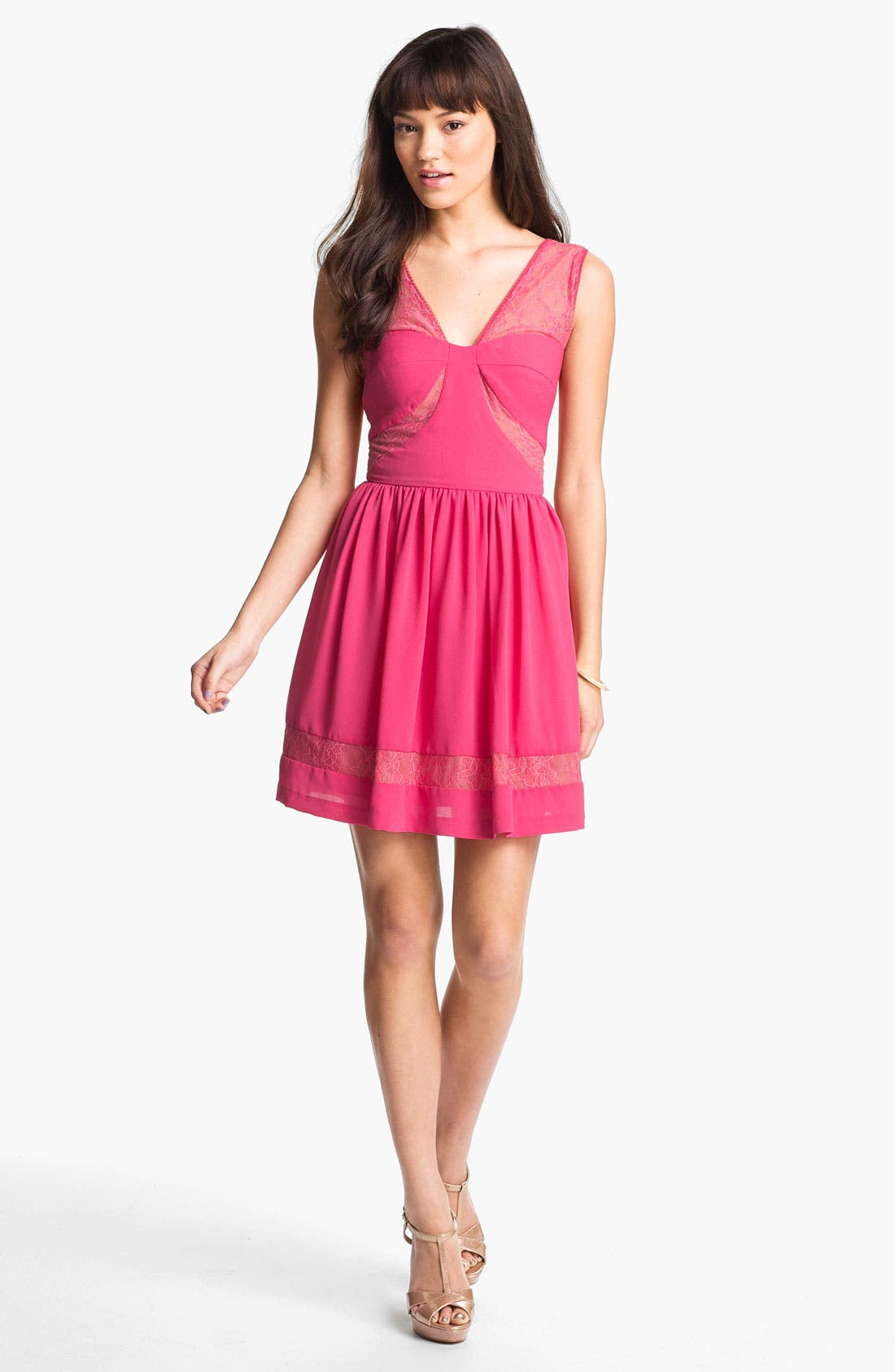 Alternate Image 1 Selected - Max & Cleo Lace Inset Crepe Fit & Flare Dress
