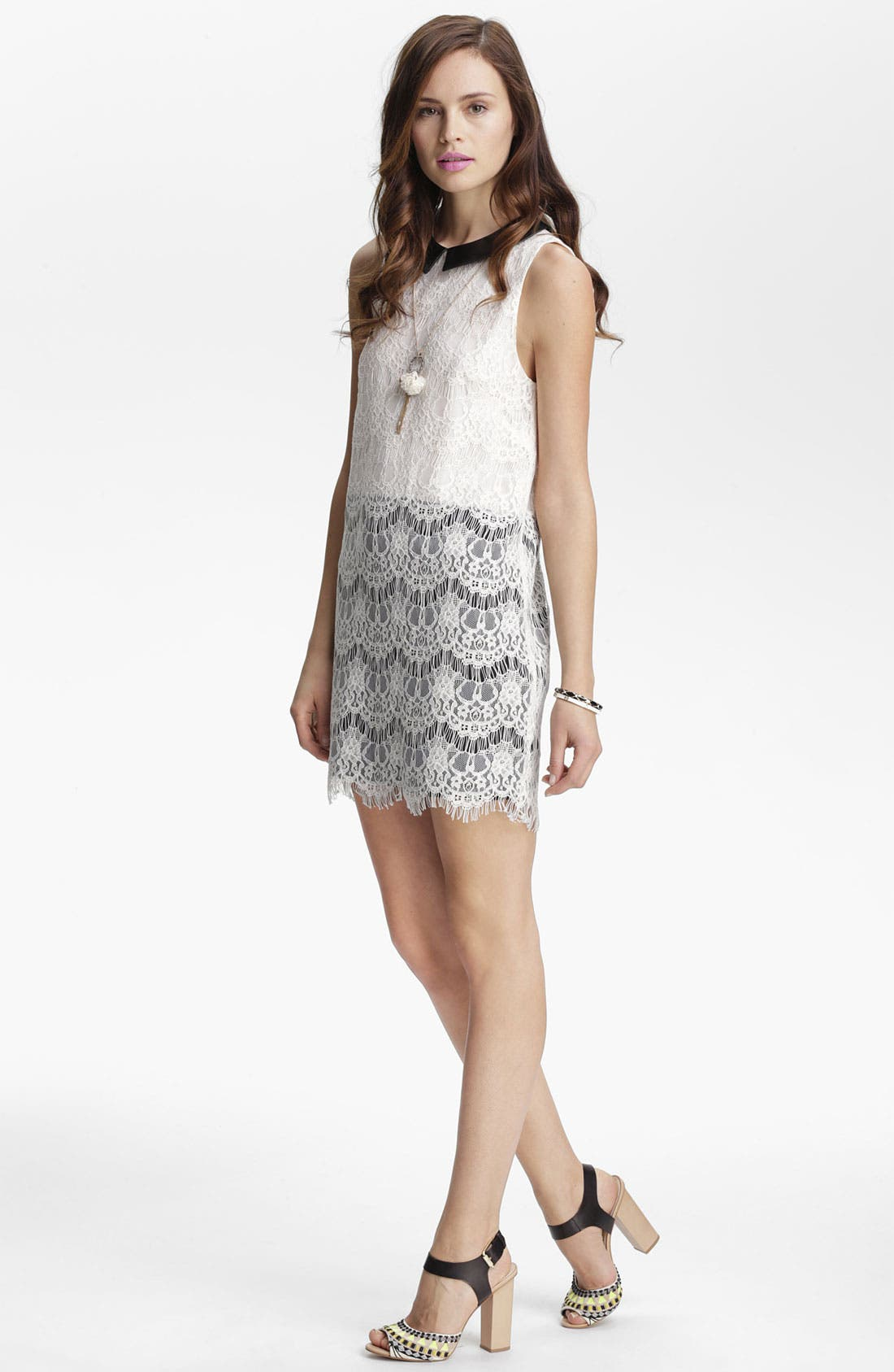 Main Image - ASTR Faux Leather & Lace Dress