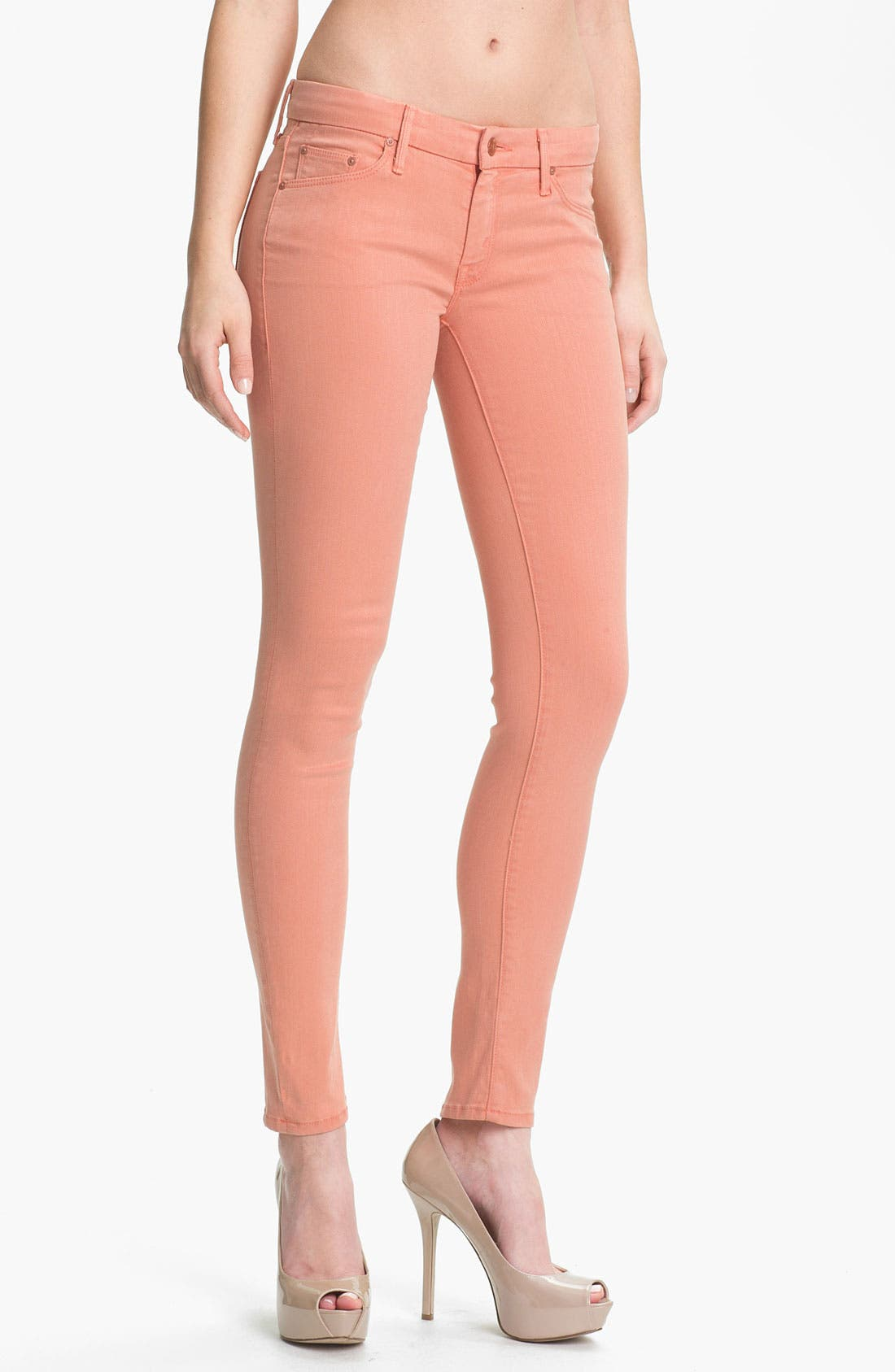 Main Image - MOTHER 'The Looker' Skinny Stretch Jeans (Peach Knockout)