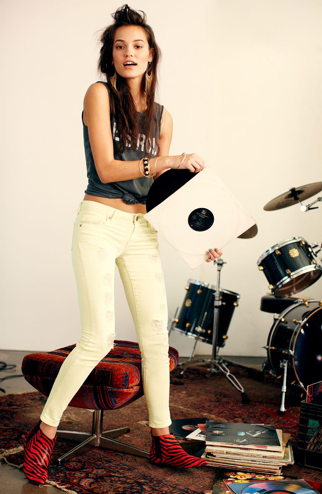 Alternate Image 3  - STS Blue Destroyed Skinny Stretch Jeans (Juniors)