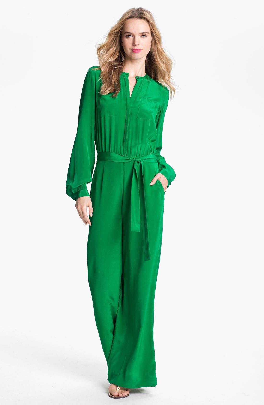 Rachel Roy Silk Jumpsuit,                             Main thumbnail 1, color,                             Emerald