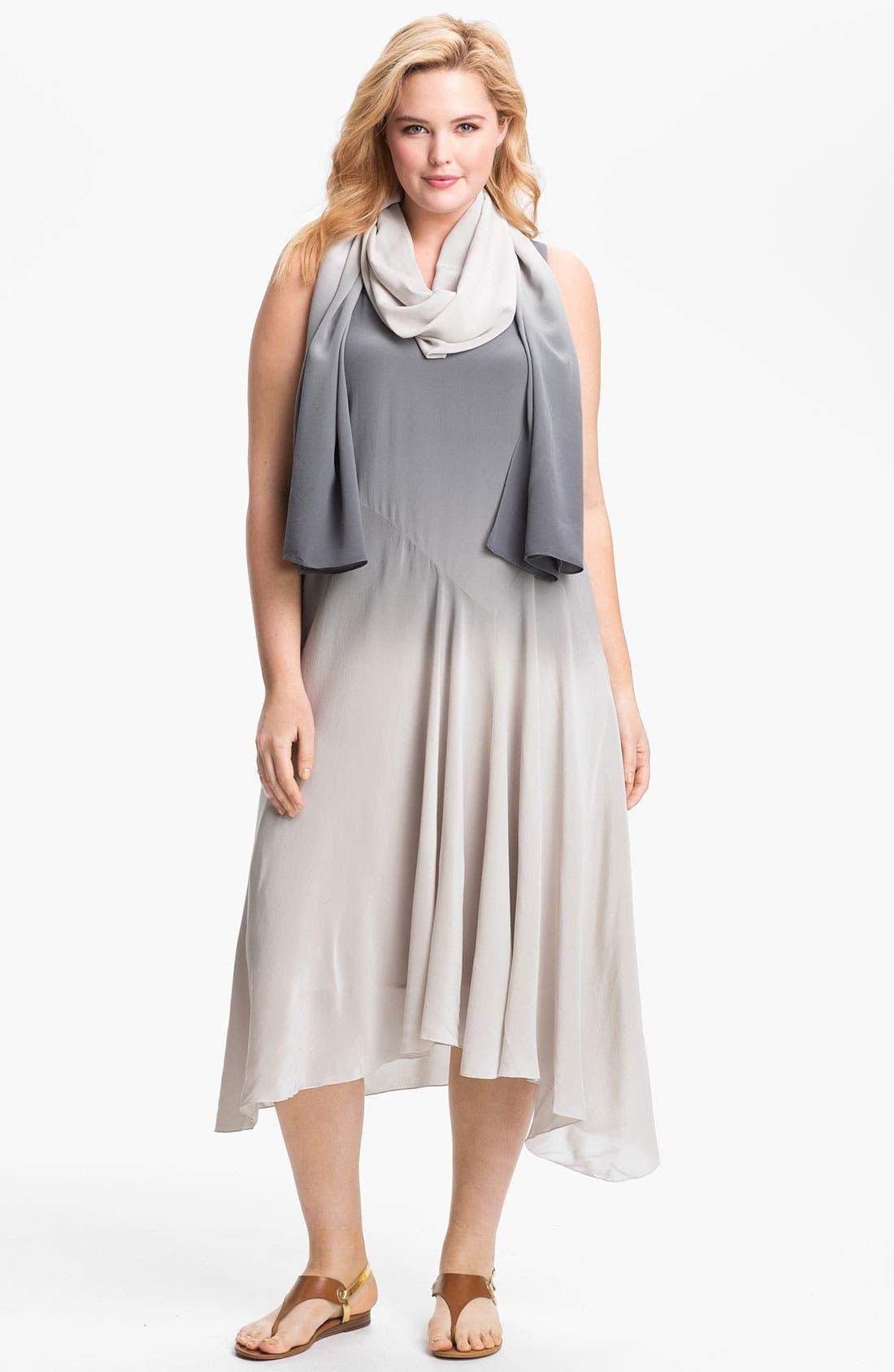 Main Image - Eileen Fisher Ombré Silk Dress (Plus Size)
