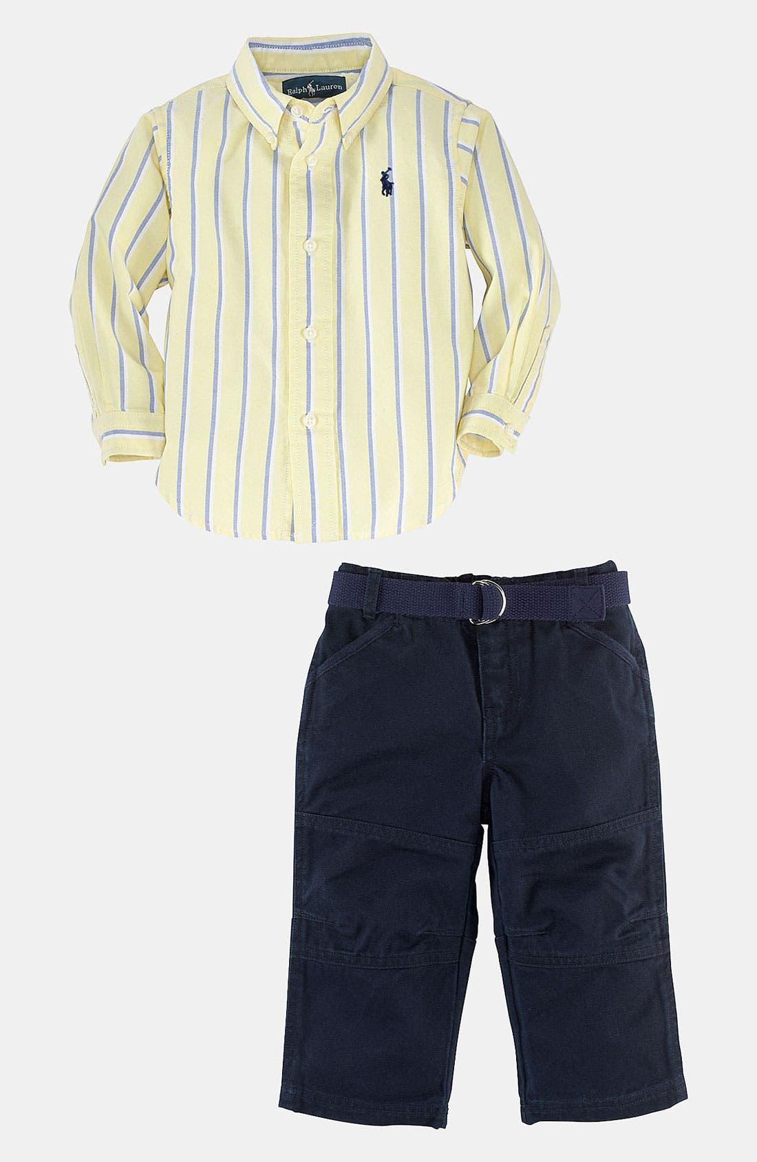 Main Image - Ralph Lauren Stripe Shirt & Pants (Baby)