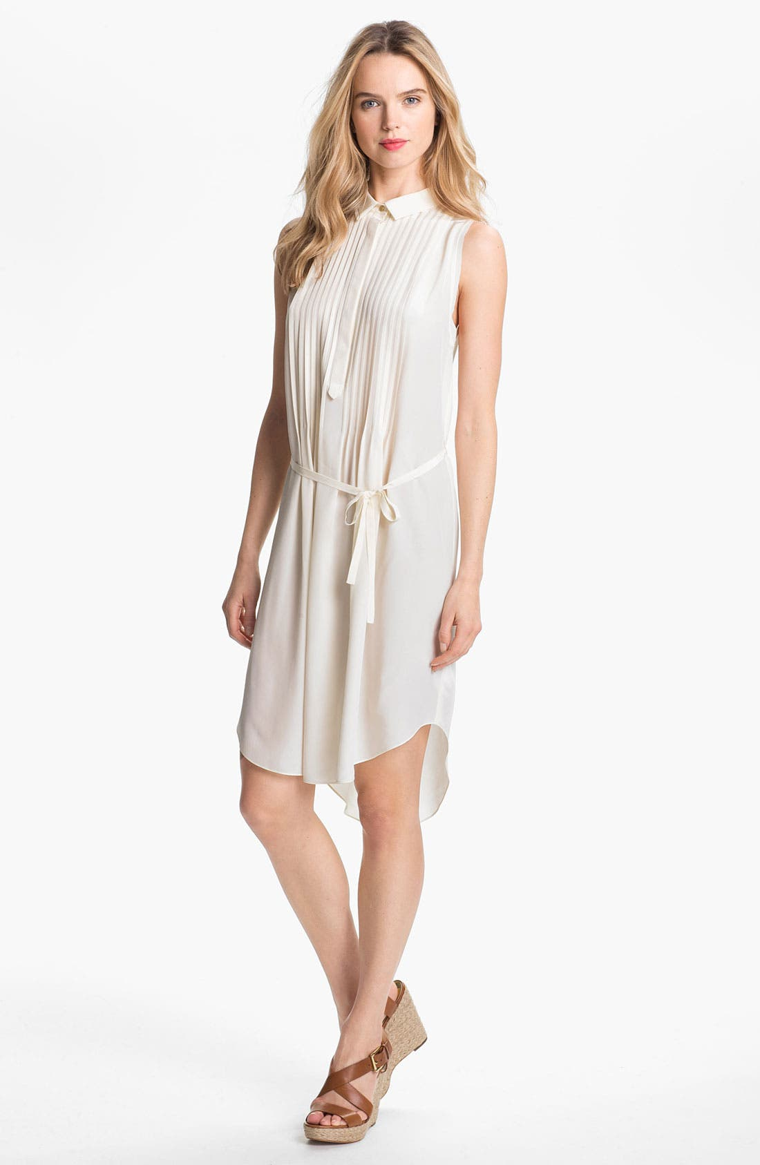 Pintuck Silk Shirtdress,                         Main,                         color, Calla Lily