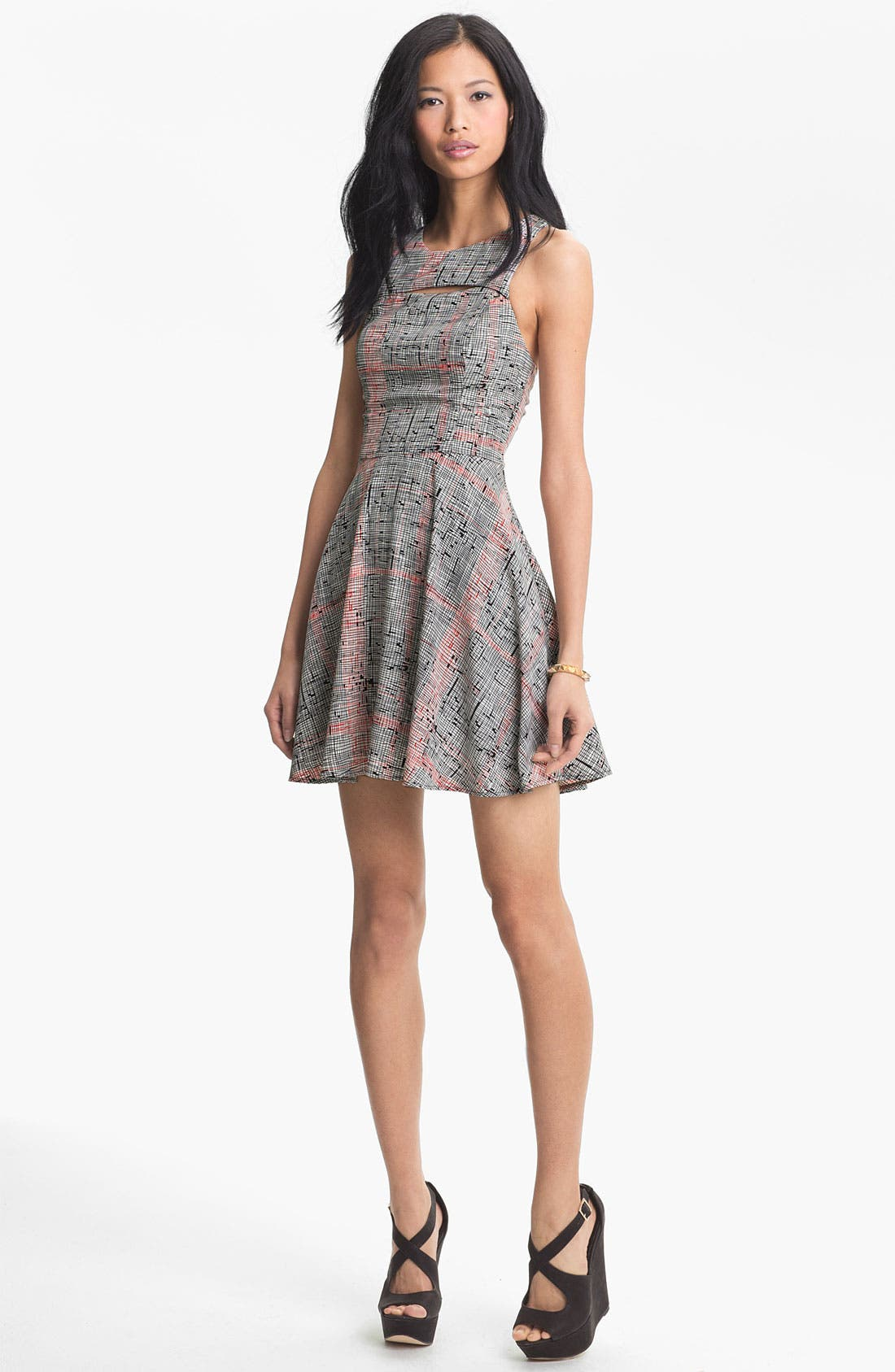 Main Image - Lush Tank Cutout Skater Dress (Juniors)