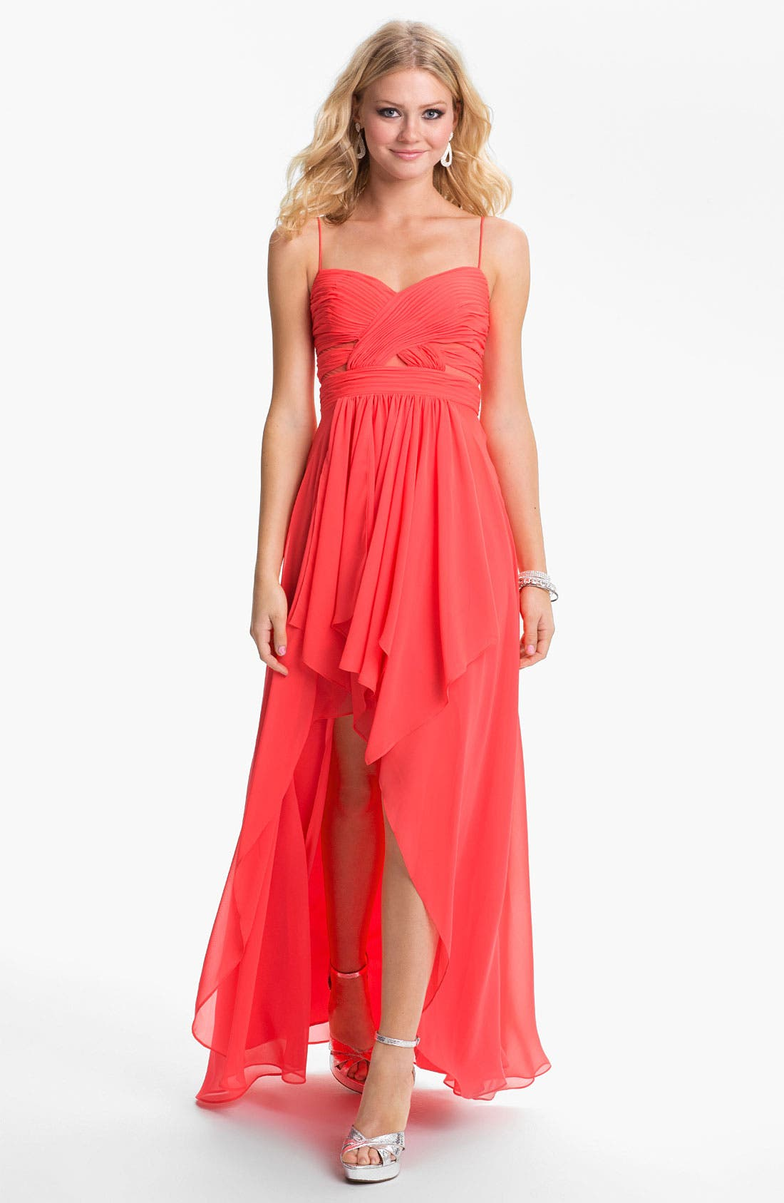 Alternate Image 1 Selected - Hailey Logan Cutout High/Low Gown (Juniors) (Online Only)