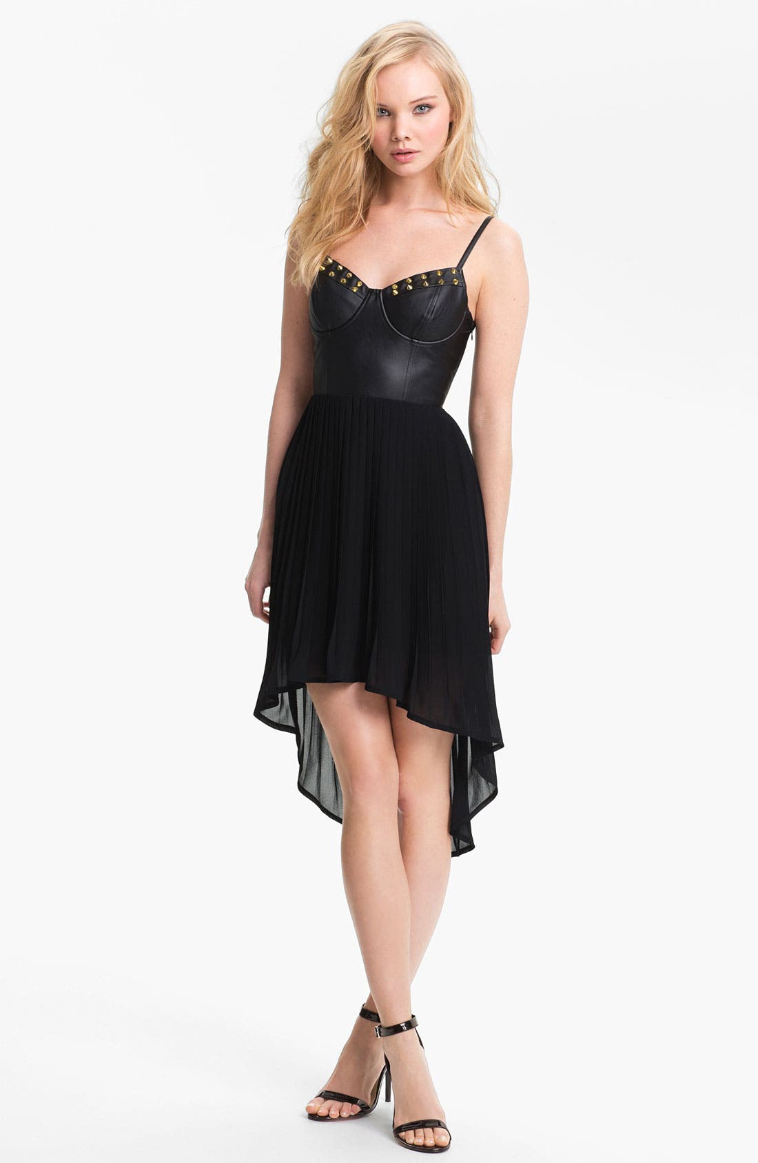 Main Image - Lush Studded Faux Leather Bustier Dress (Juniors)