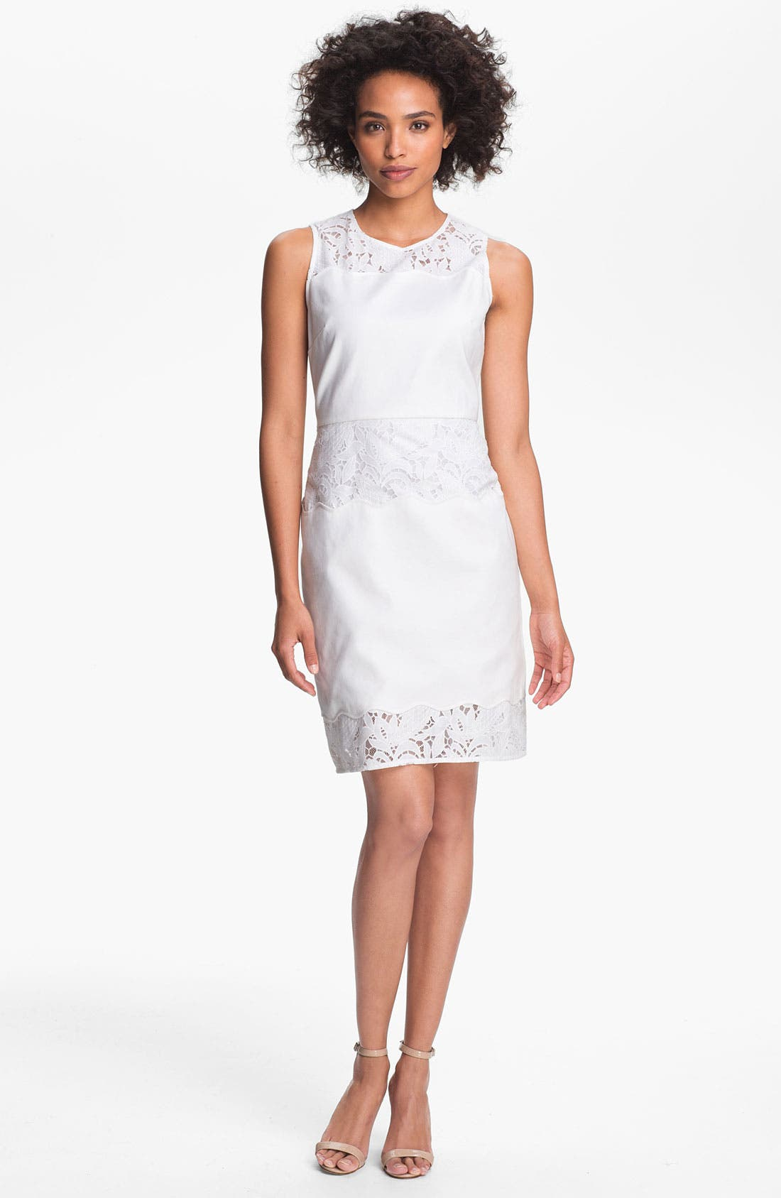 Main Image - Tahari Lace Detail Sleeveless Sheath Dress