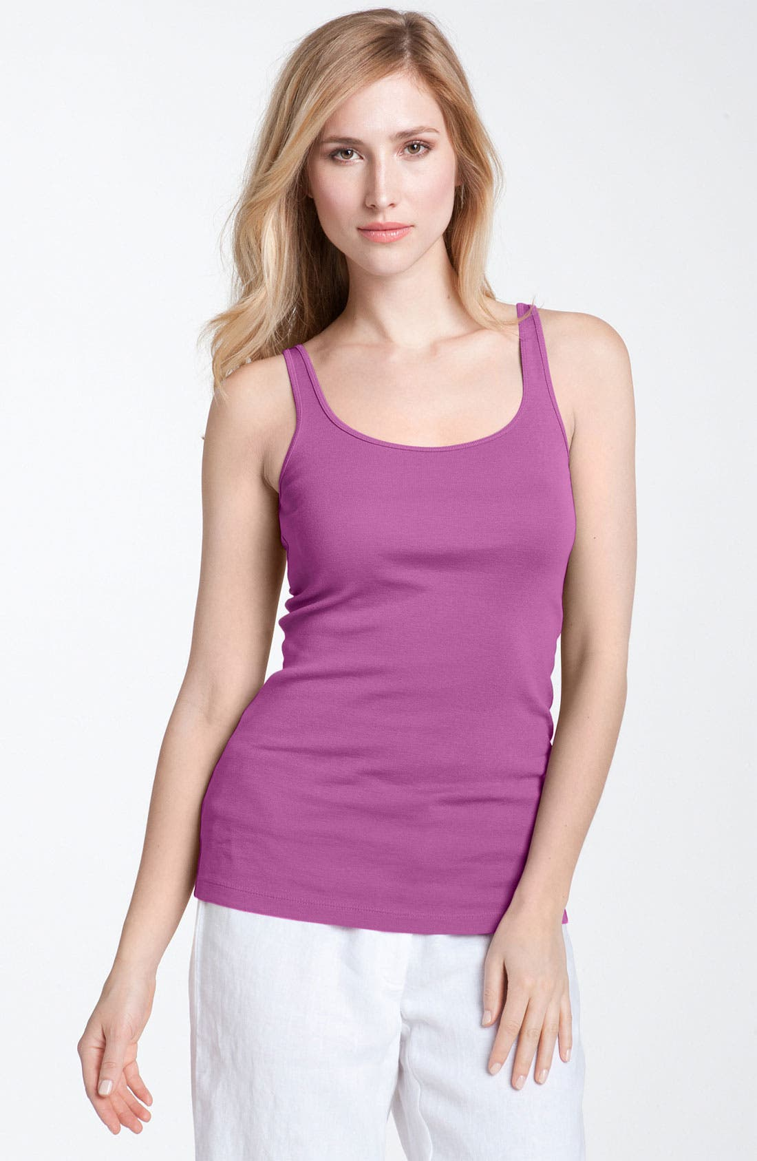 Alternate Image 1 Selected - Eileen Fisher Long Slim Tank (Regular & Petite)
