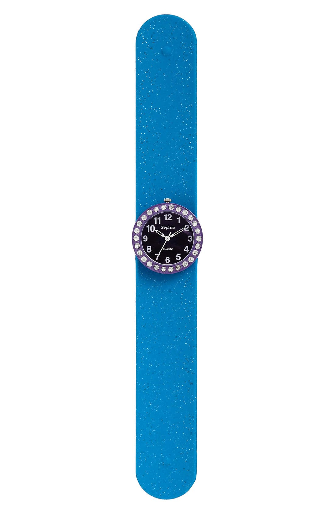 Main Image - Titanium Glittery Rhinestone Slap Watch (Girls)