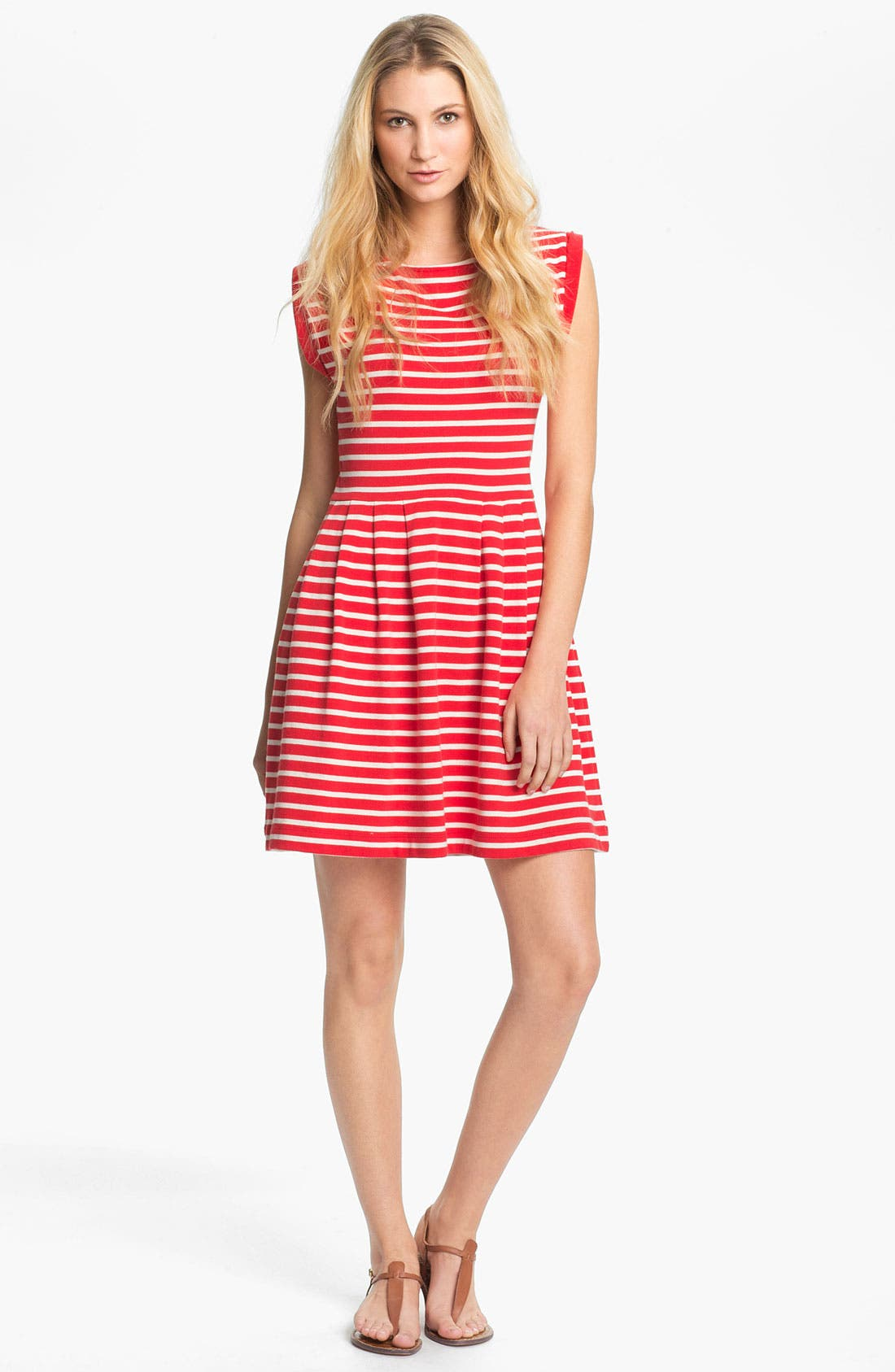 'Classic County' Stripe Cotton Fit & Flare Dress,                         Main,                         color, Lady Rouge/ Cream