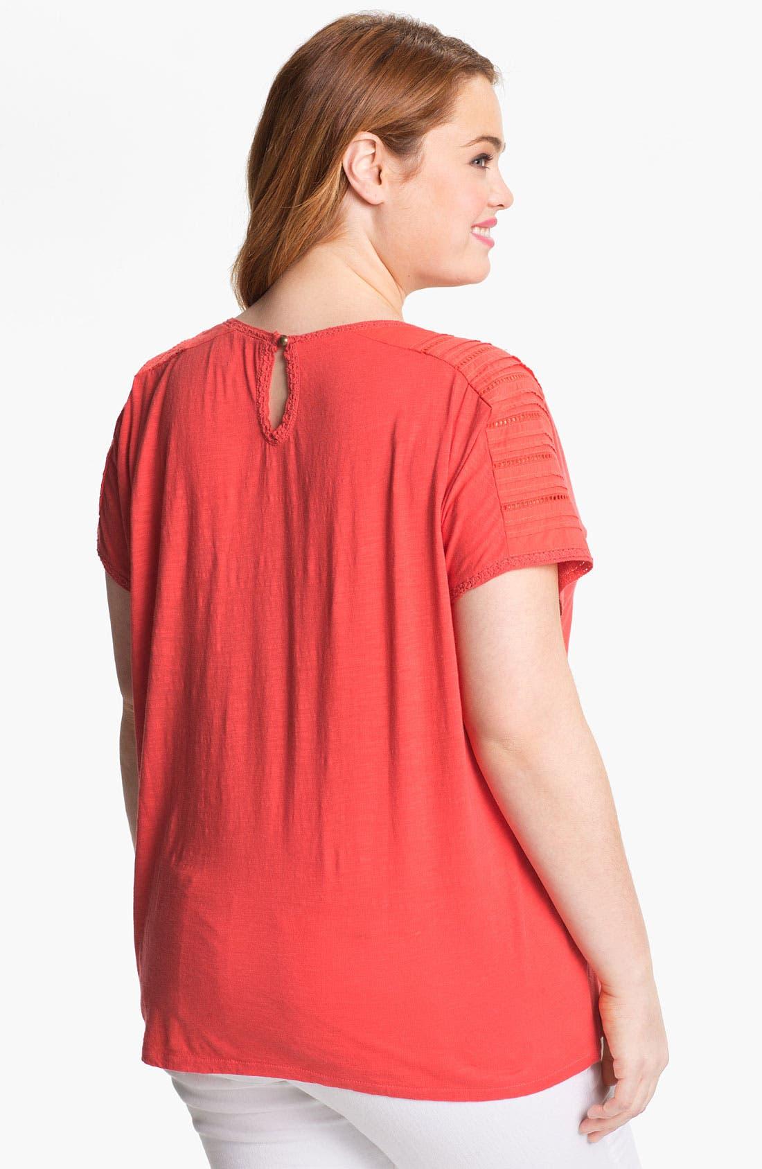 Alternate Image 2  - Lucky Brand 'Alice' Cutout Cotton Top (Plus Size)