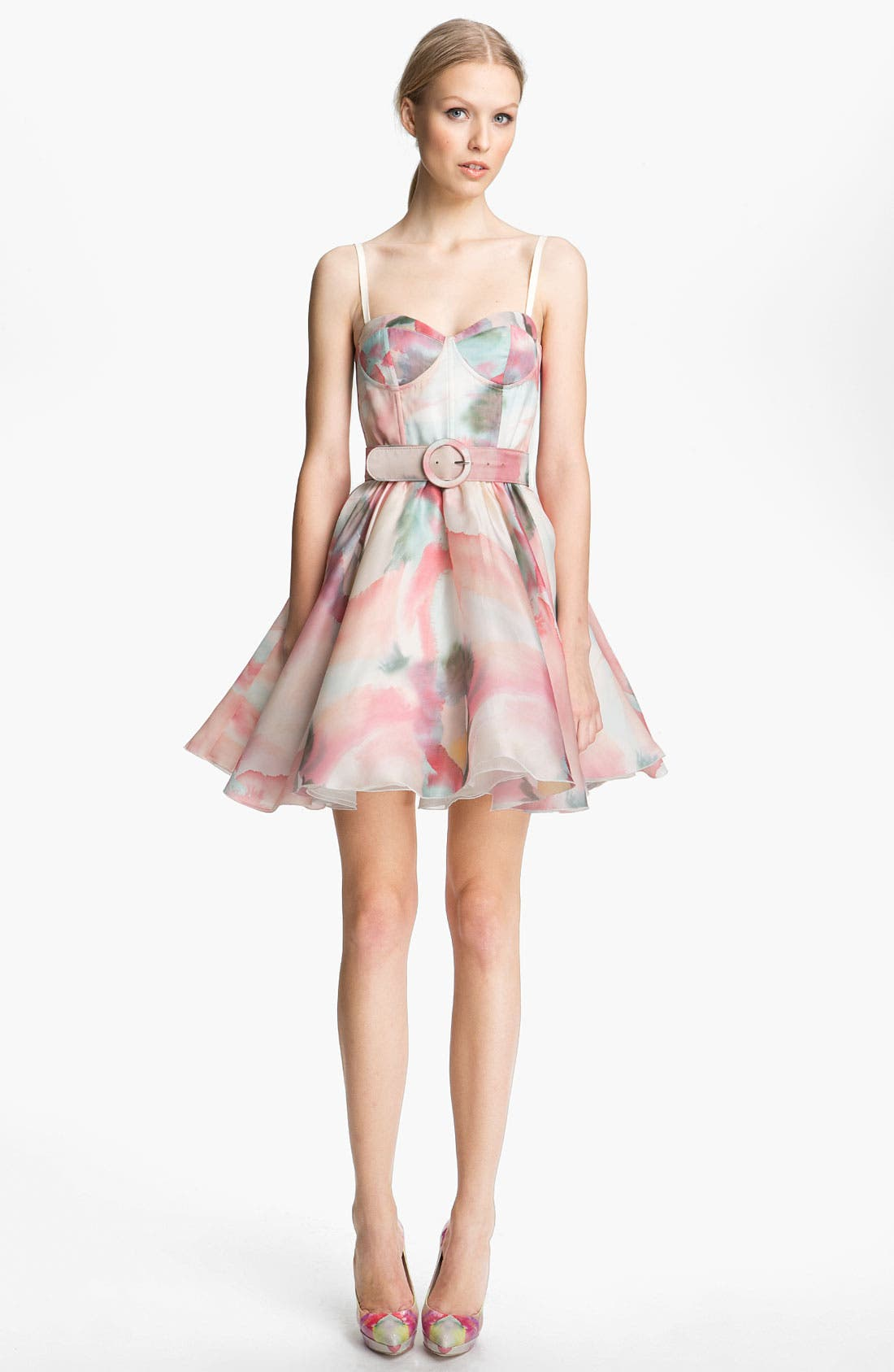 Main Image - Alice + Olivia Belted Print Bustier Dress