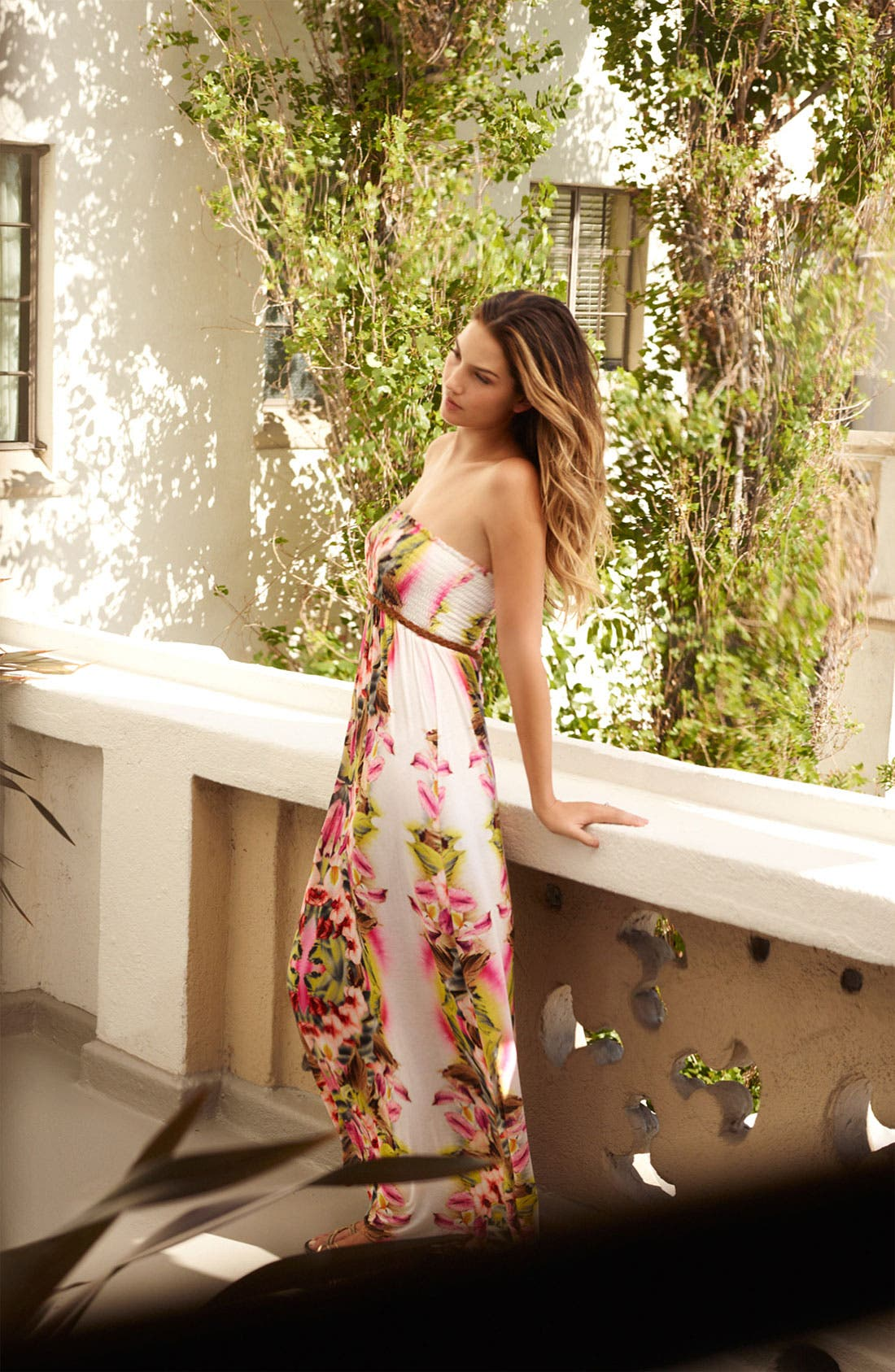 Alternate Image 4  - Lily Aldridge for Velvet by Graham & Spencer Floral Print Strapless Maxi Dress