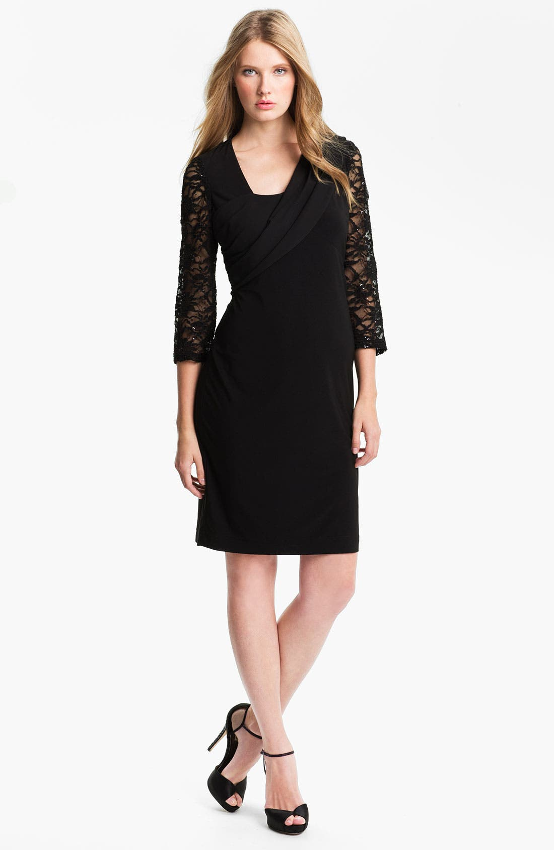 Alternate Image 1 Selected - Alex Evenings Chiffon Detail Jersey Shift Dress (Petite)