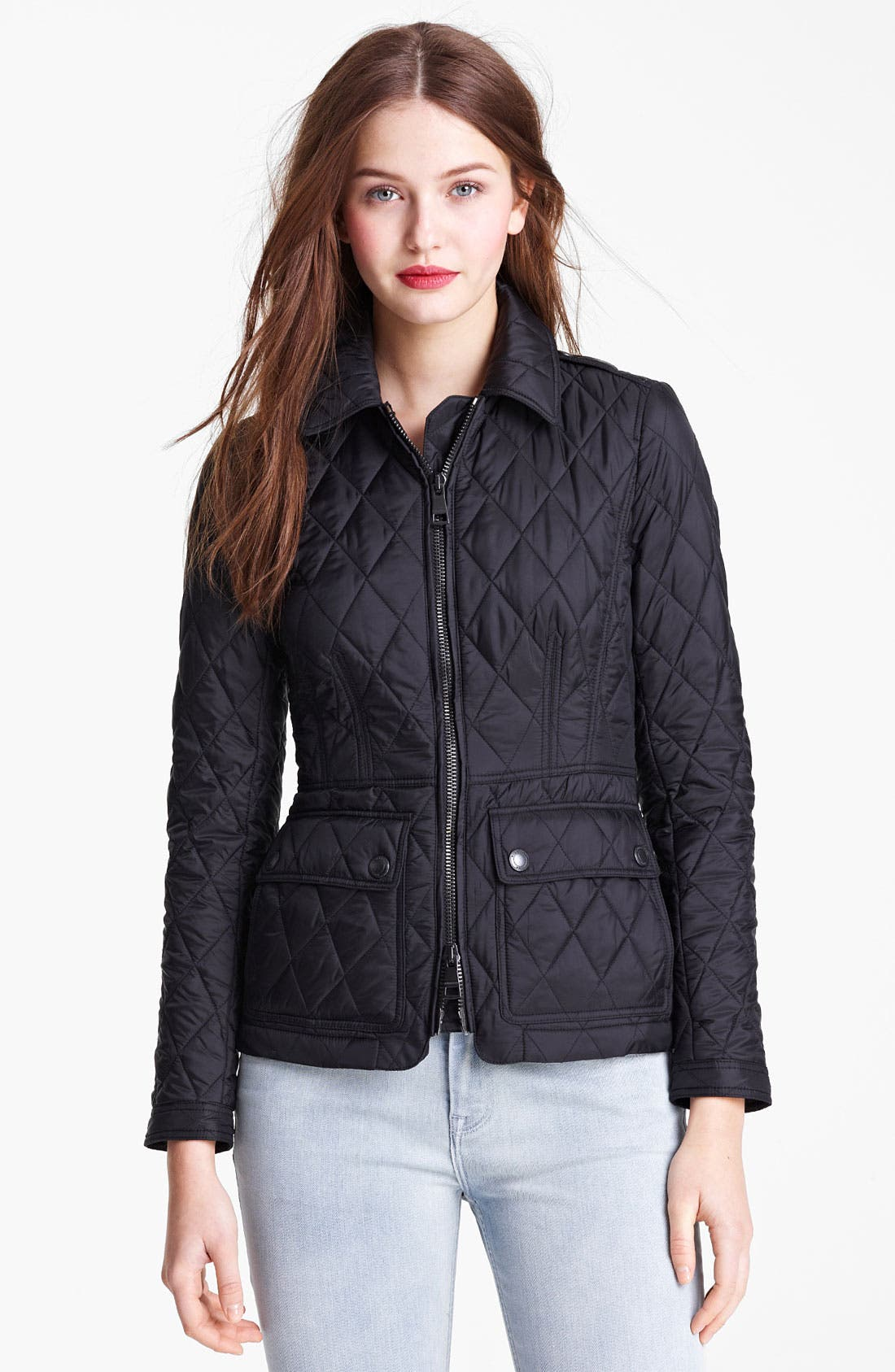 'Ivymoore' Quilted Zip Jacket,                             Main thumbnail 1, color,                             Black