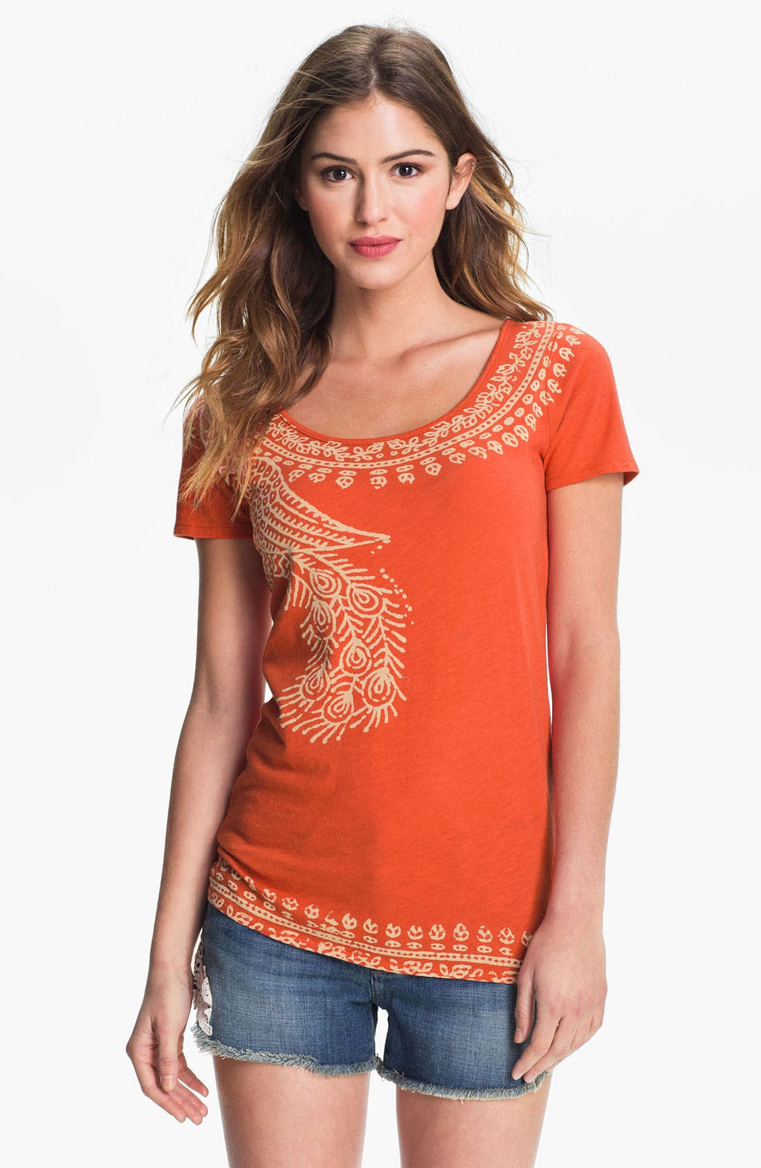 Alternate Image 1 Selected - Lucky Brand 'Indian Peacock' Tee