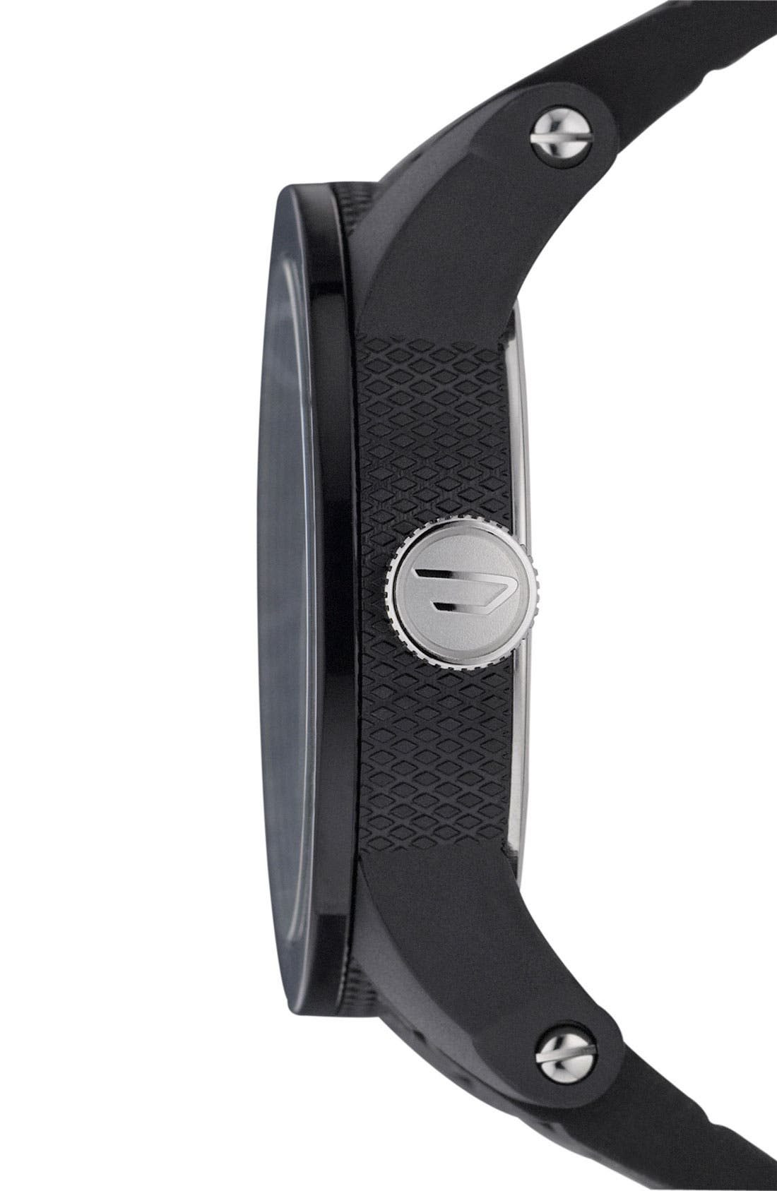Alternate Image 2  - DIESEL® 'Double Down' Round Silicone Strap Watch, 44mm
