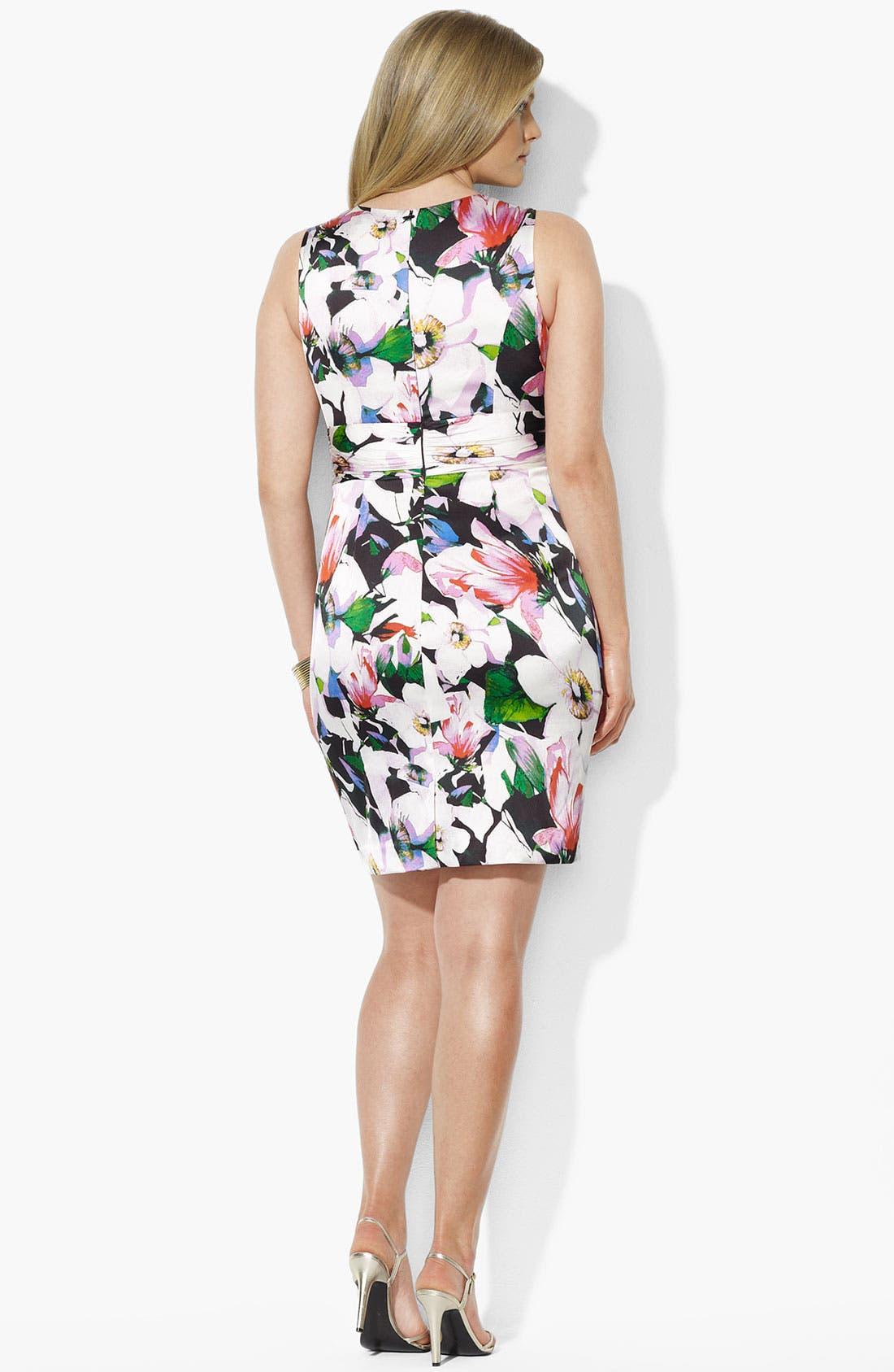 Alternate Image 2  - Lauren Ralph Lauren Floral Print Sheath Dress (Plus Size) (Online Only)