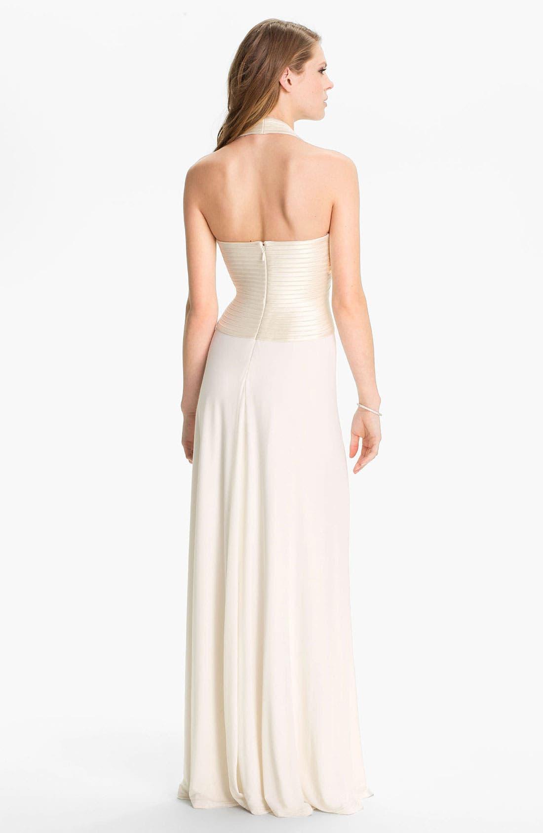 Alternate Image 2  - BCBGMAXAZRIA 'Anitra' Satin & Jersey Halter Gown