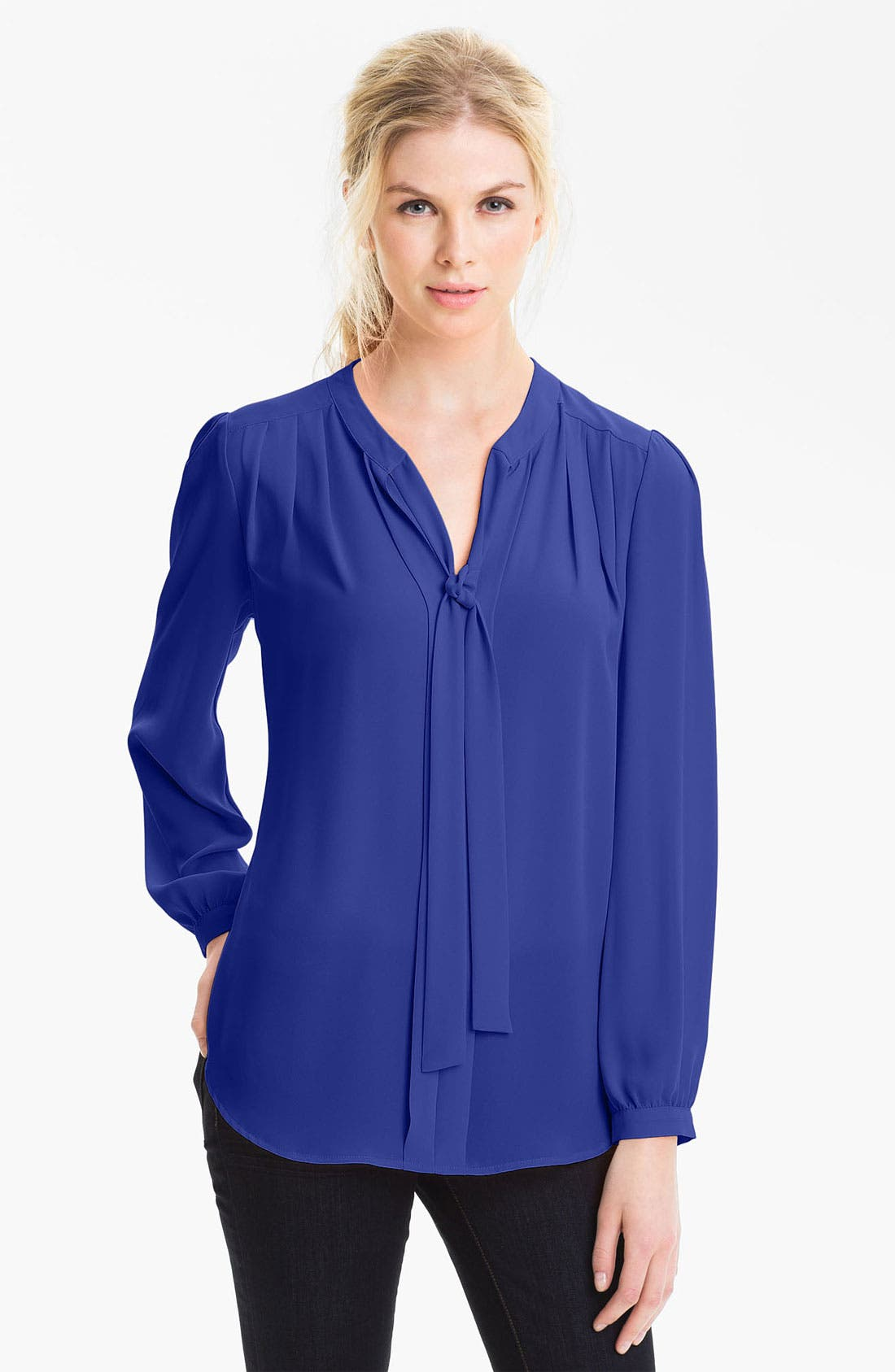 Main Image - Pleione Tie Neck Pleated Blouse