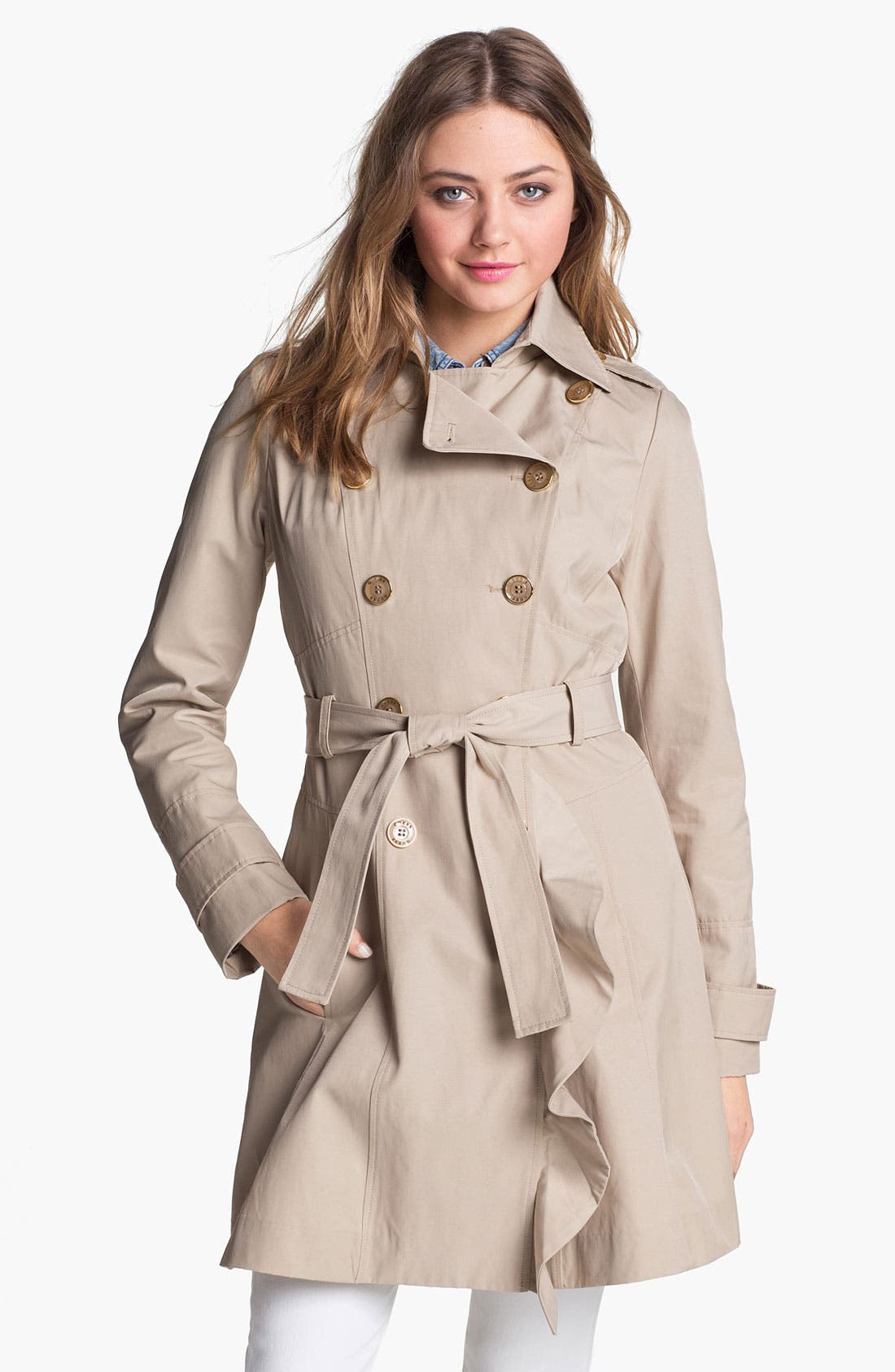 Main Image - GUESS Ruffle Front Trench Coat (Regular & Petite) (Online Only)
