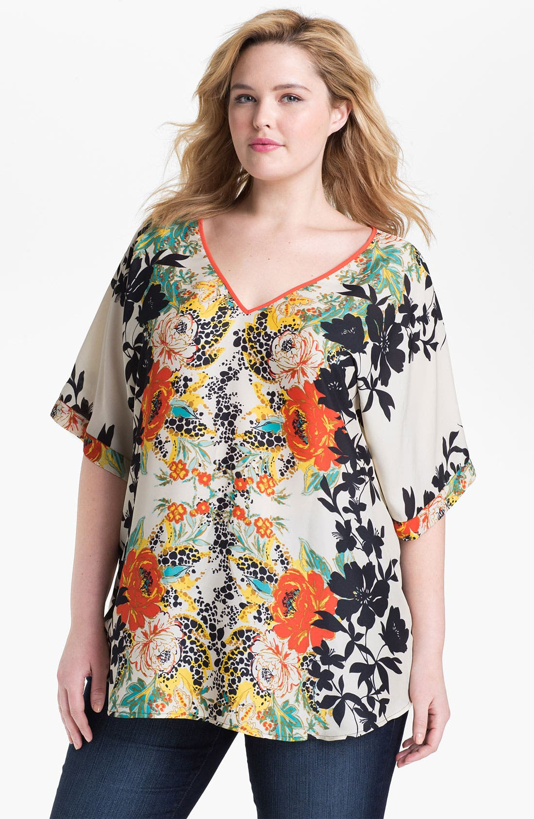 Main Image - Daniel Rainn Print V-Neck Top (Plus)