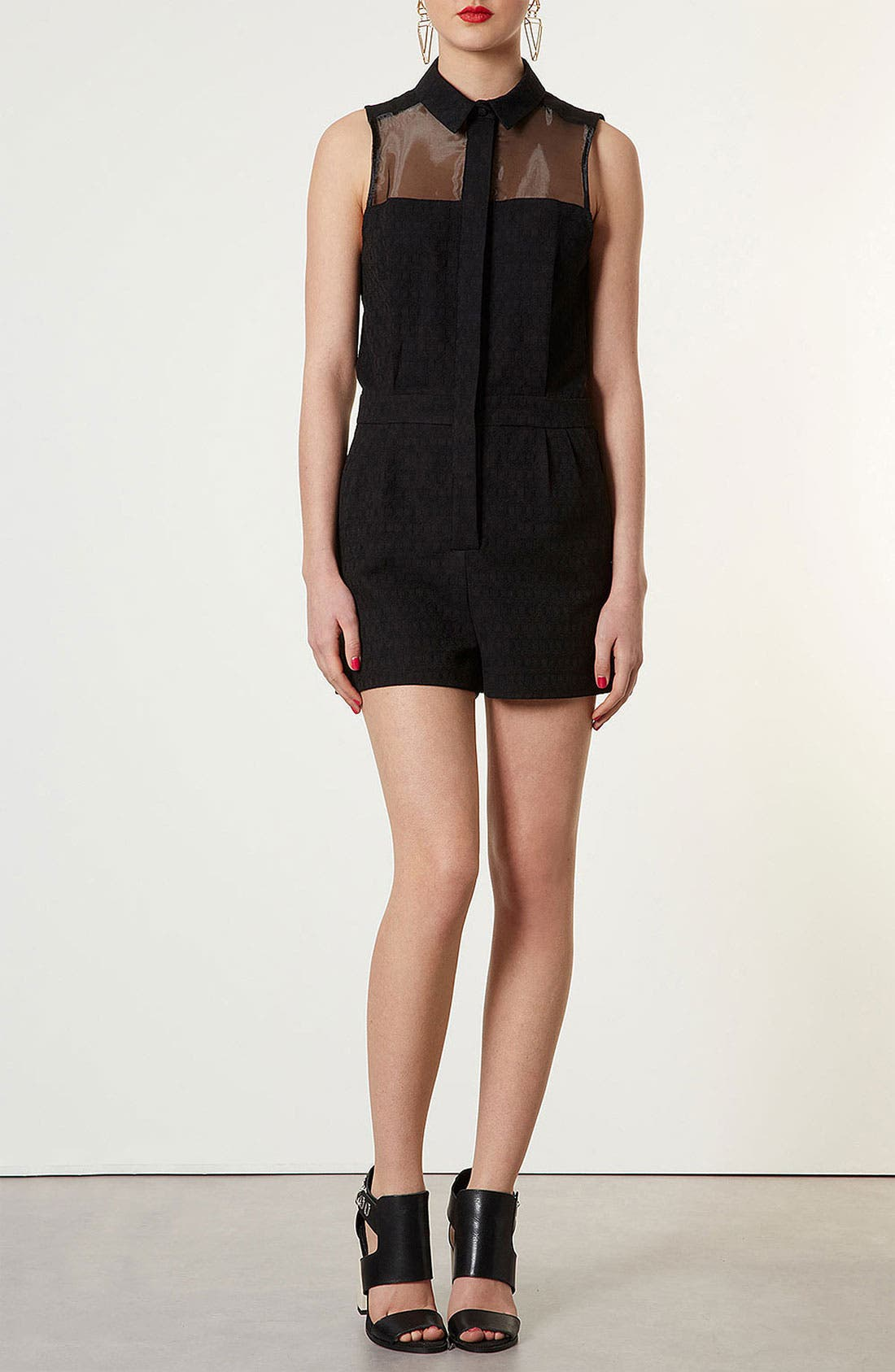 Alternate Image 1 Selected - Topshop Sheer Panel Jacquard Romper