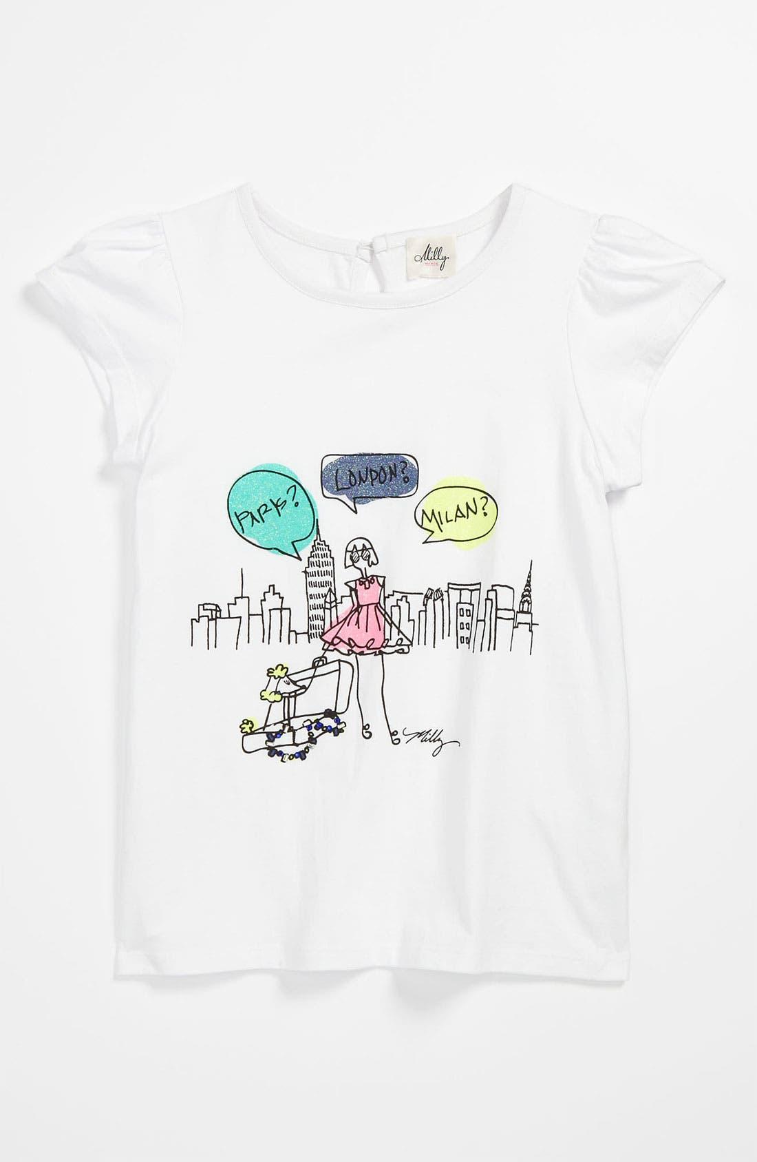 Alternate Image 1 Selected - Milly Minis 'Flutter' Tee (Little Girls & Big Girls)