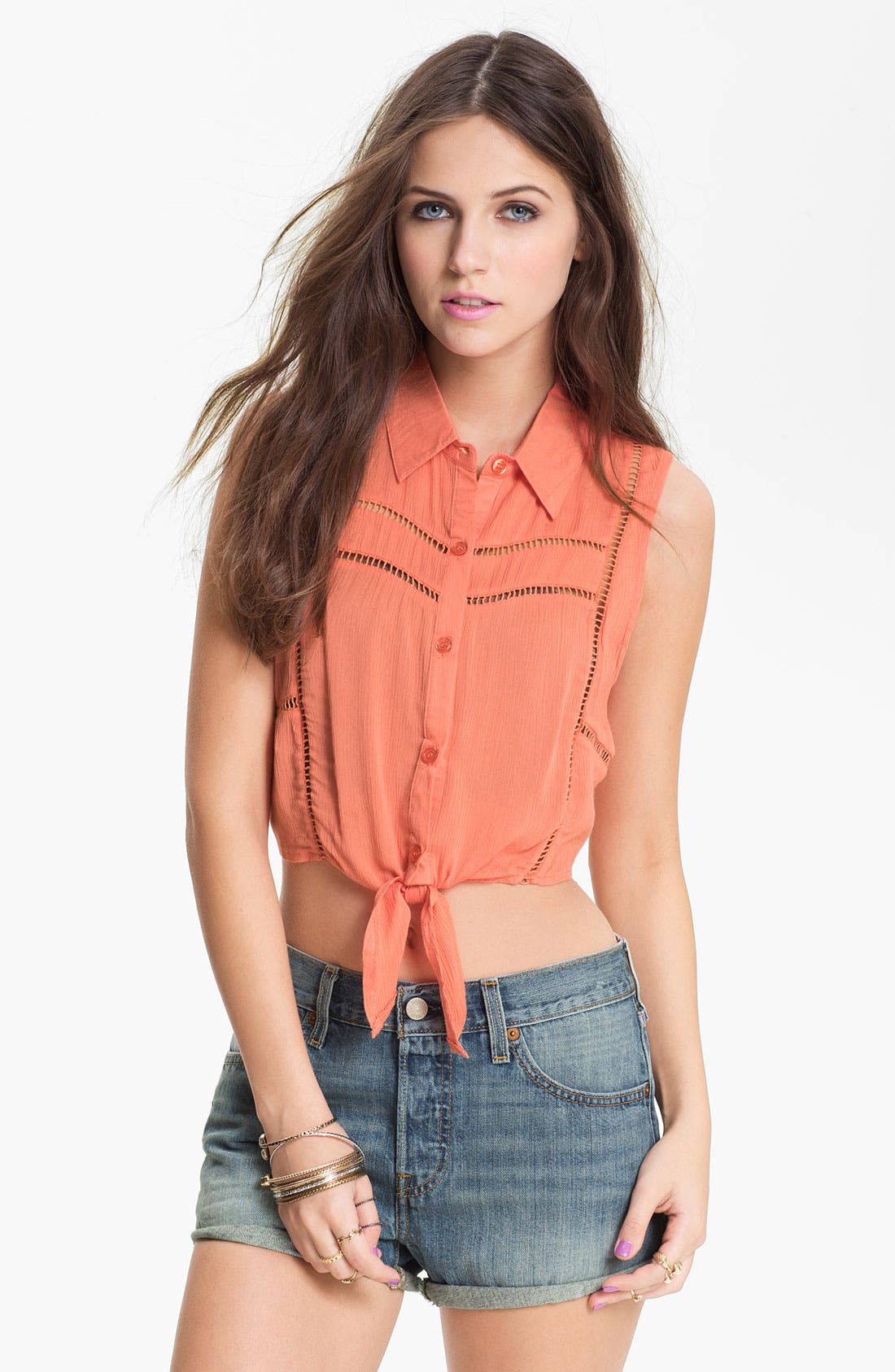 Alternate Image 1 Selected - Lush Crochet Trim Tie Front Top (Juniors) (Online Only)