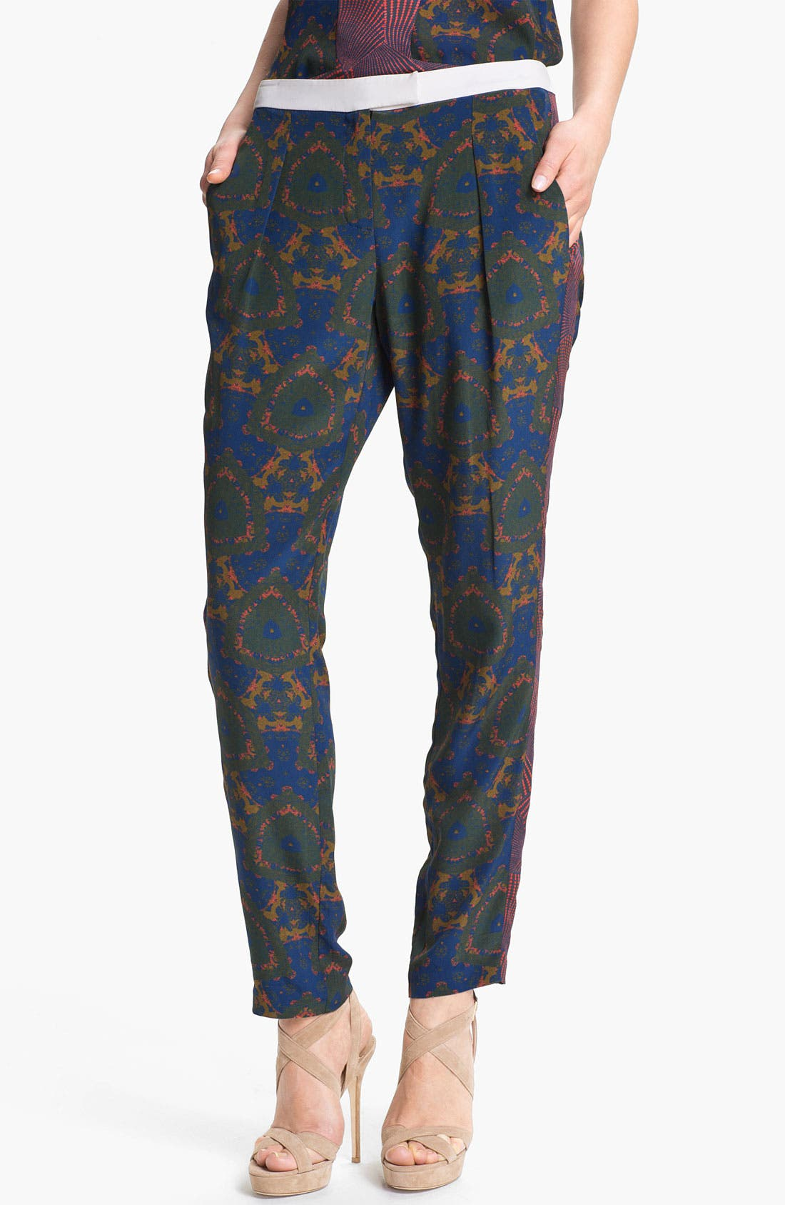 Alternate Image 1 Selected - A.L.C. 'Bryant' Mix Print Silk Pants