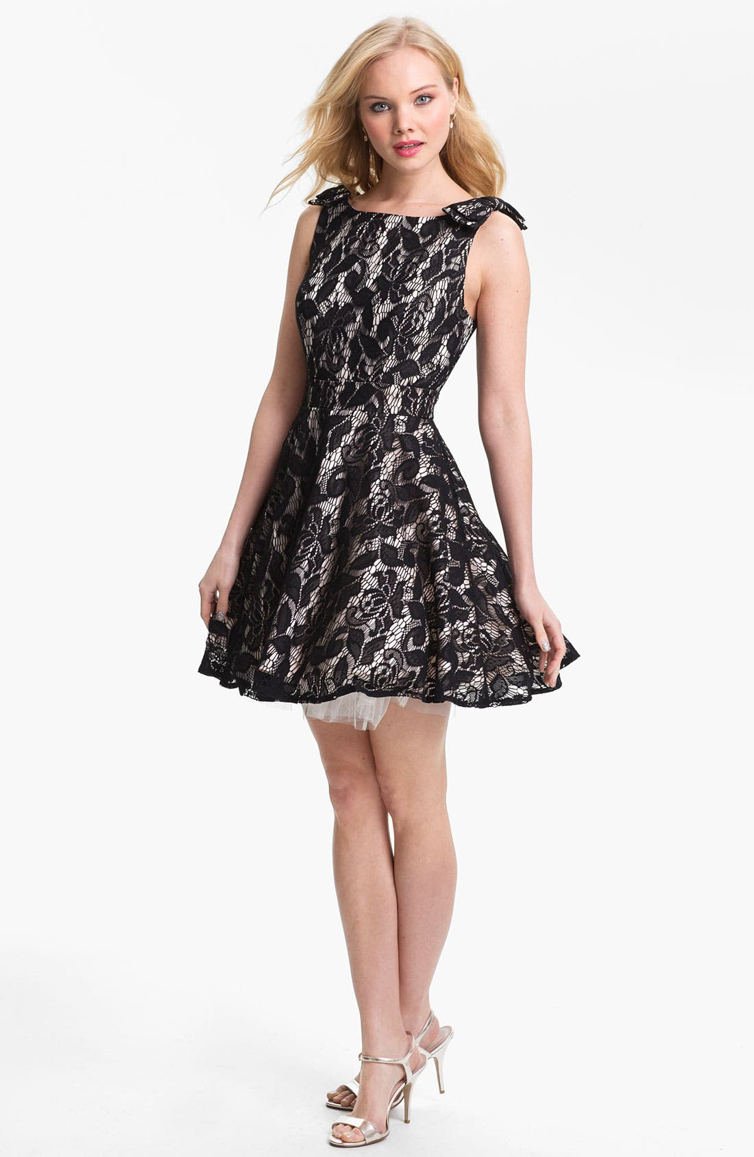 Main Image - Way-In Lace Overlay Skater Dress (Juniors)