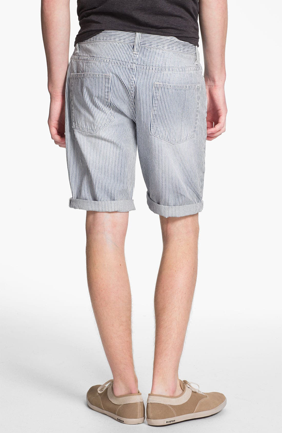 Alternate Image 4  - Topman Slim Fit Stripe Denim Shorts