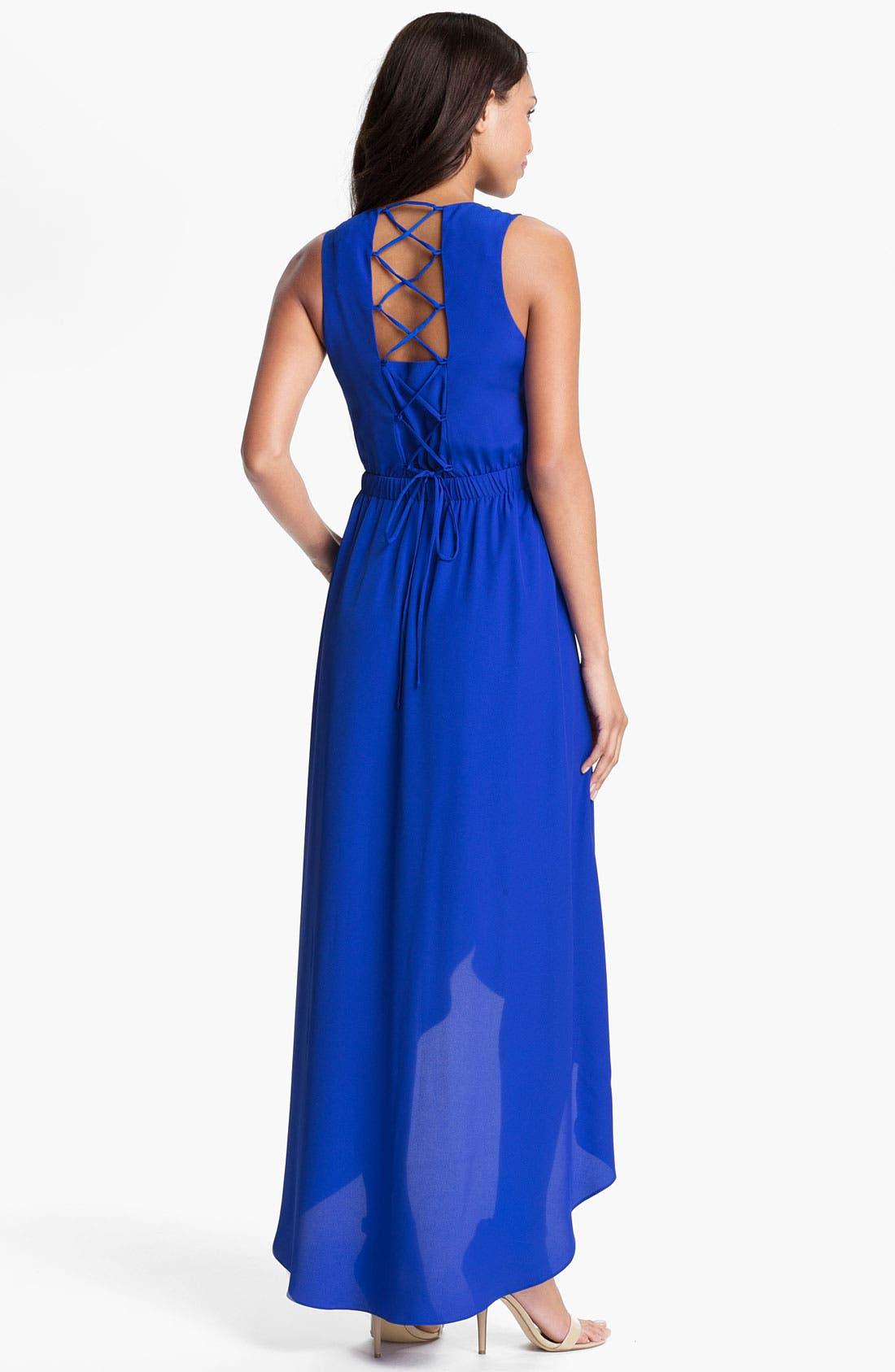 Alternate Image 2  - Presley Skye Lace Up High/Low Maxi Dress