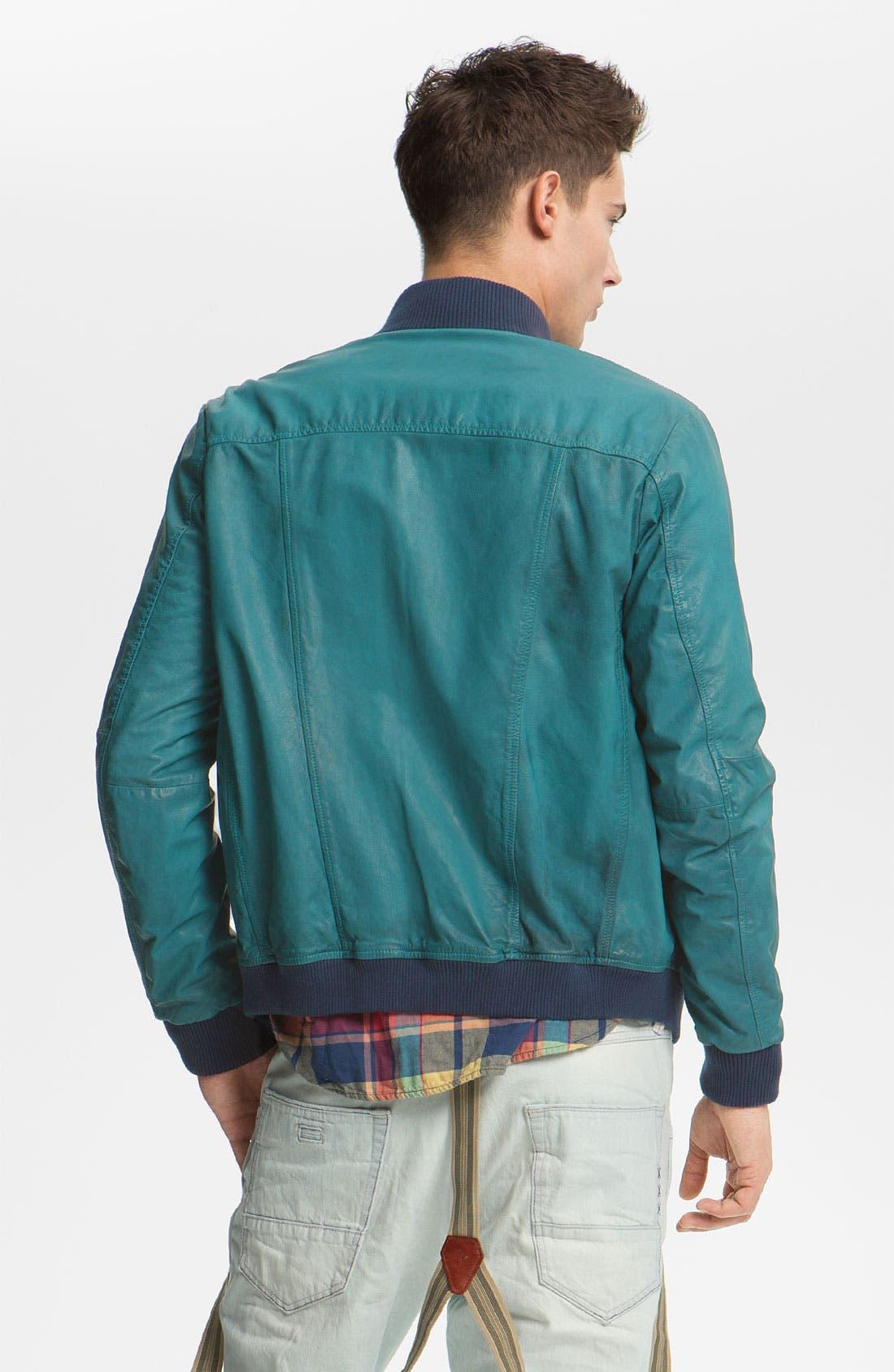 Alternate Image 2  - Scotch & Soda Leather Bomber Jacket