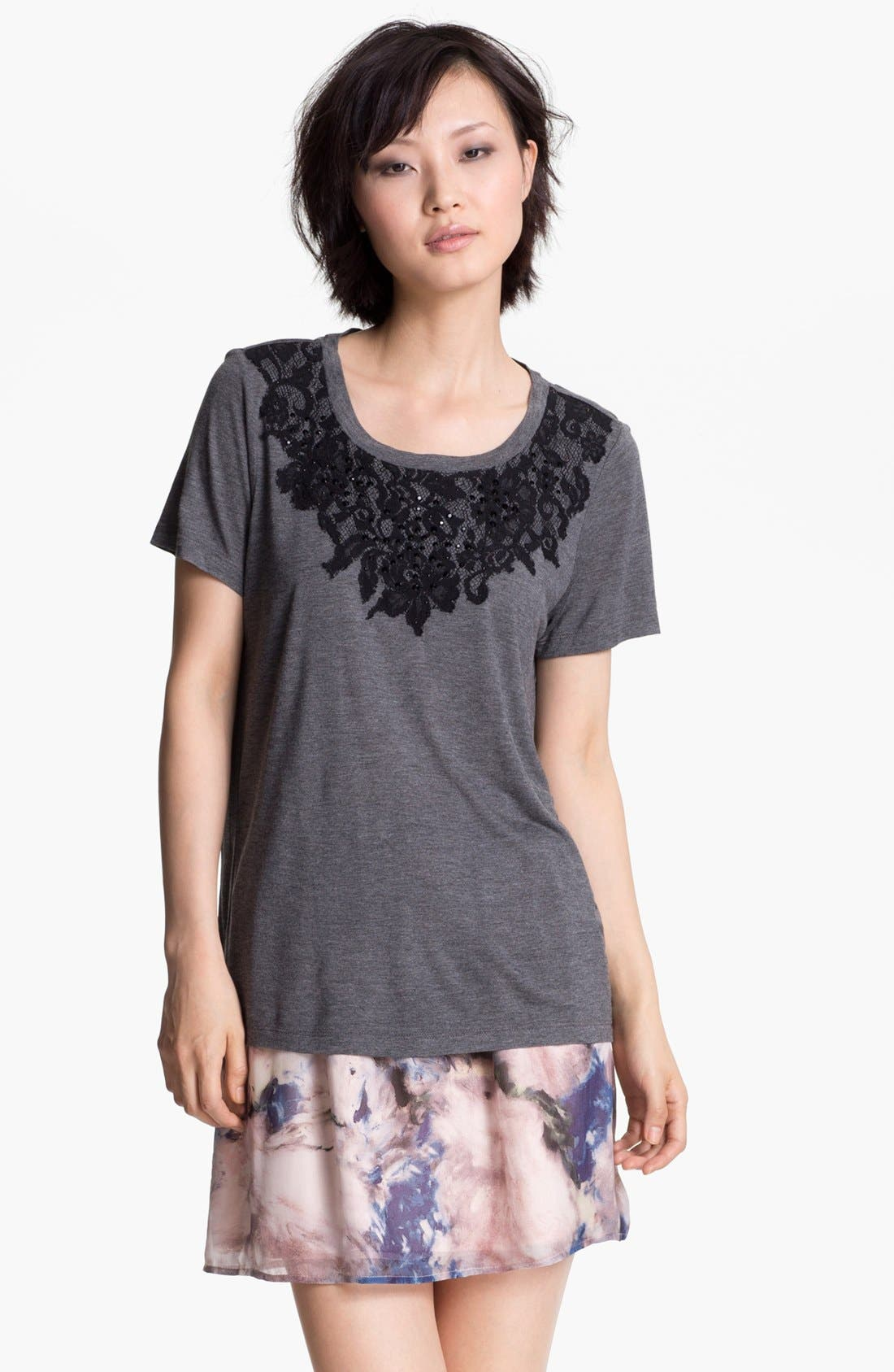 Alternate Image 1 Selected - Haute Hippie Lace Detail Tee