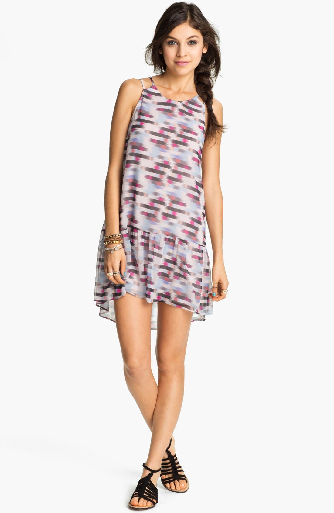 Main Image - Lush Blur Print Drop Waist Dress (Juniors)