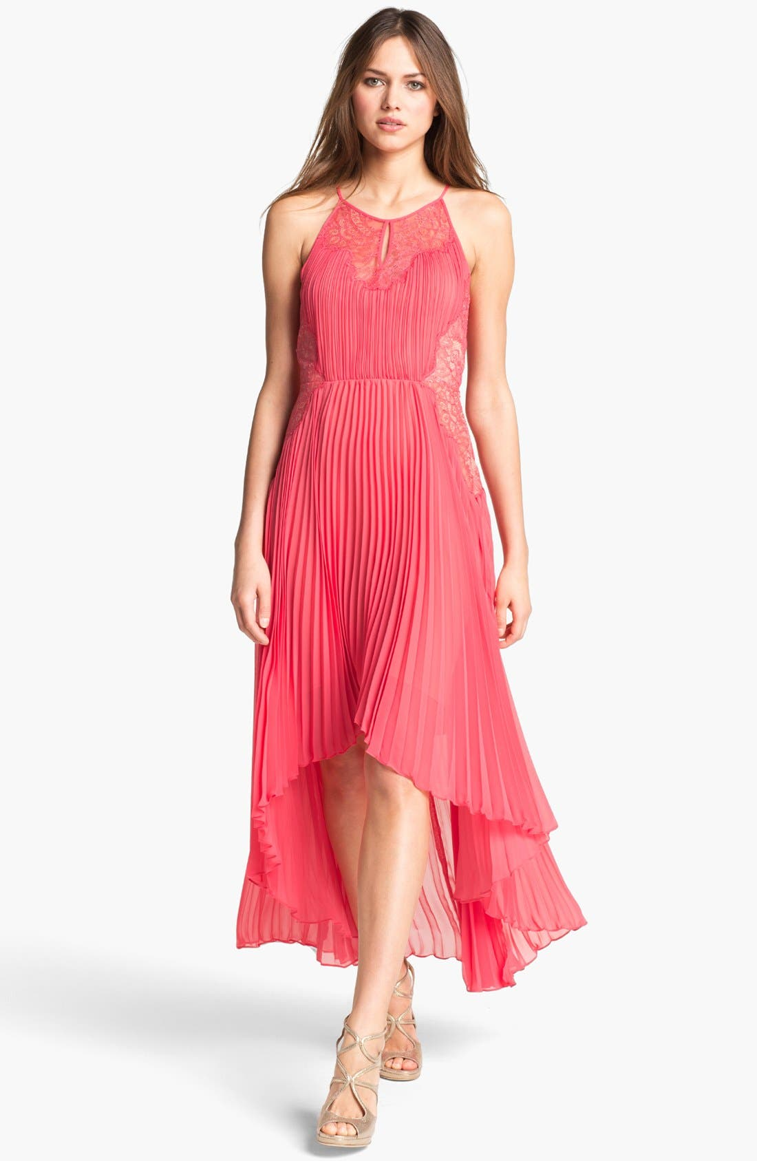 Main Image - BCBGMAXAZRIA Pleated Lace & Chiffon High/Low Dress