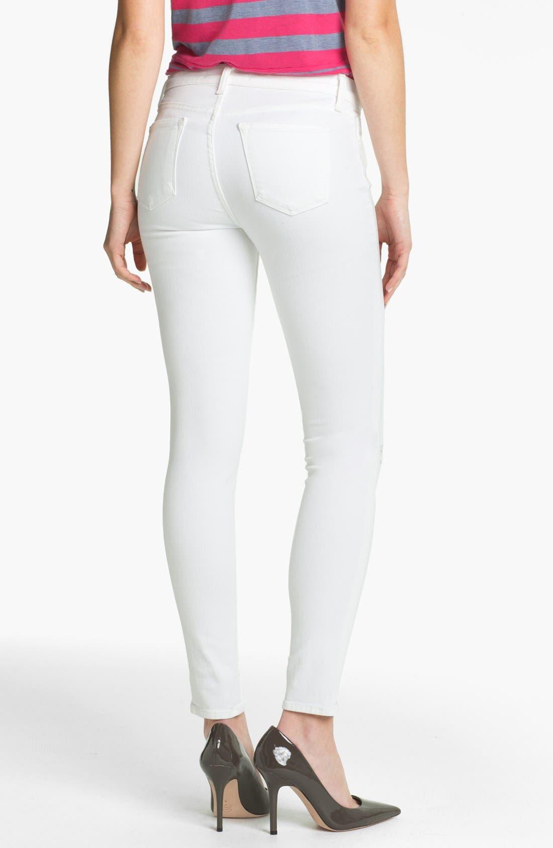 Destroyed Skinny Jeans,                             Alternate thumbnail 2, color,                             Blanc Destruct