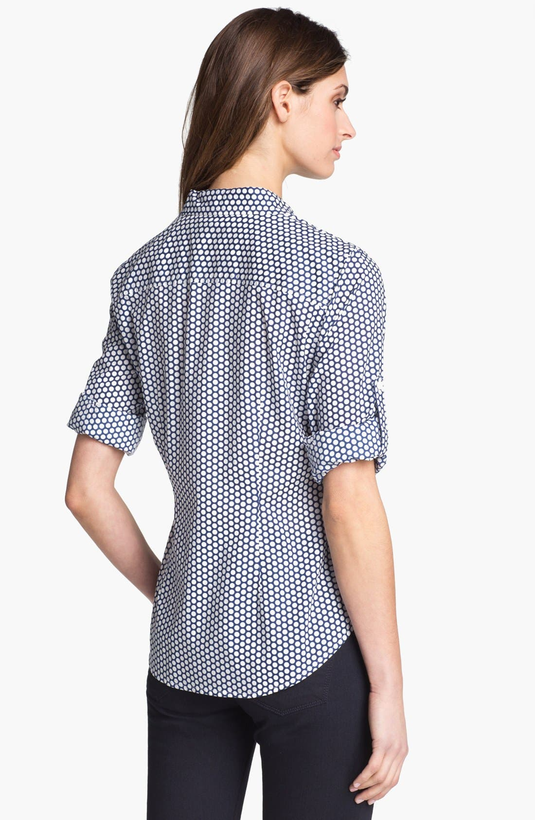 Alternate Image 2  - Sandra Ingrish Roll Sleeve Polka Dot Shirt (Petite)