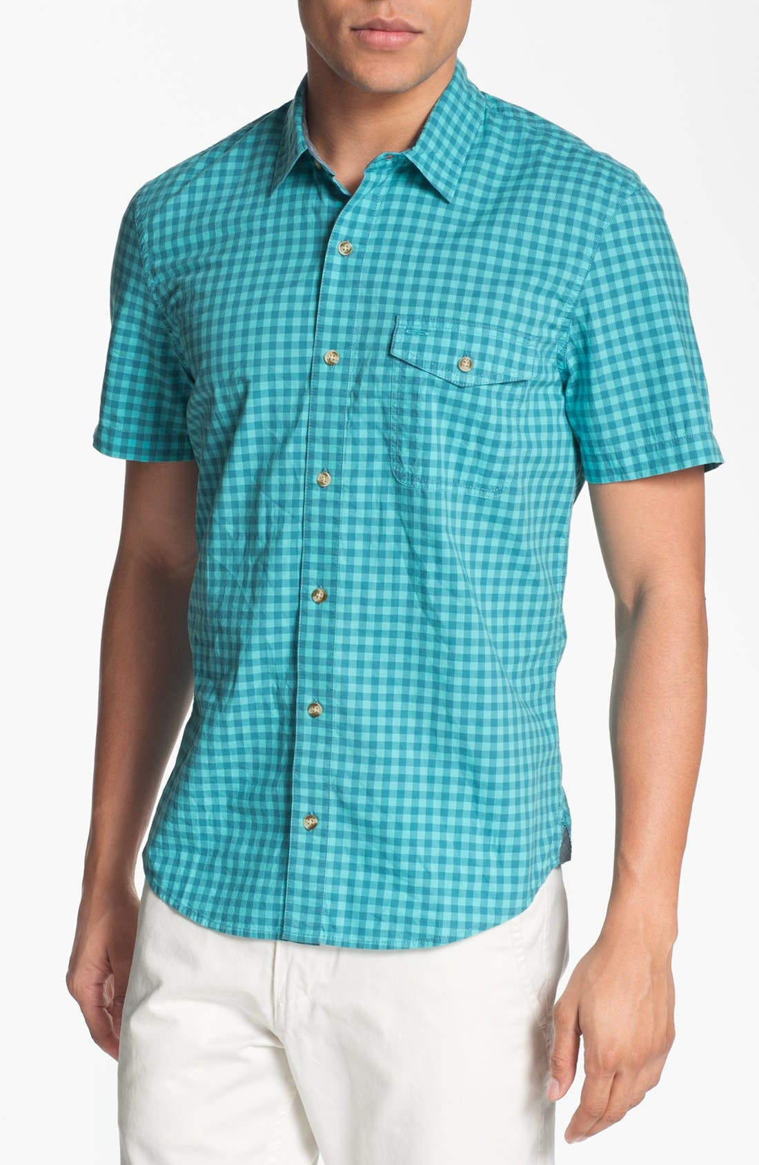 Plaid Short Sleeve Woven Shirt,                         Main,                         color, Blue Gingham