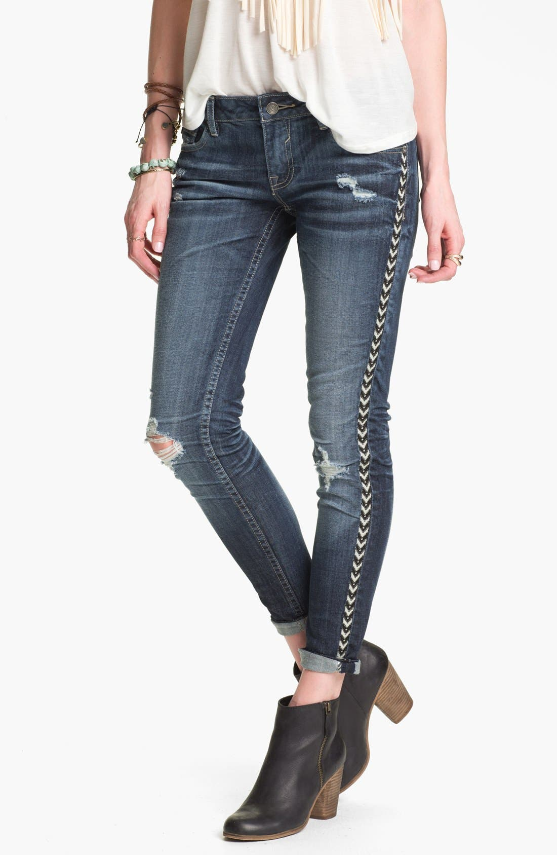 Main Image - Vigoss Destroyed Embroidered Skinny Jeans (Juniors)
