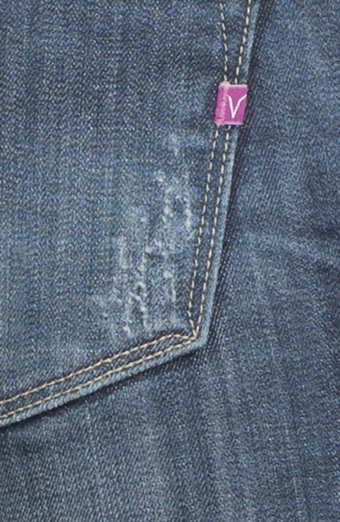 Alternate Image 3  - Vigoss Destroyed Embroidered Skinny Jeans (Juniors)